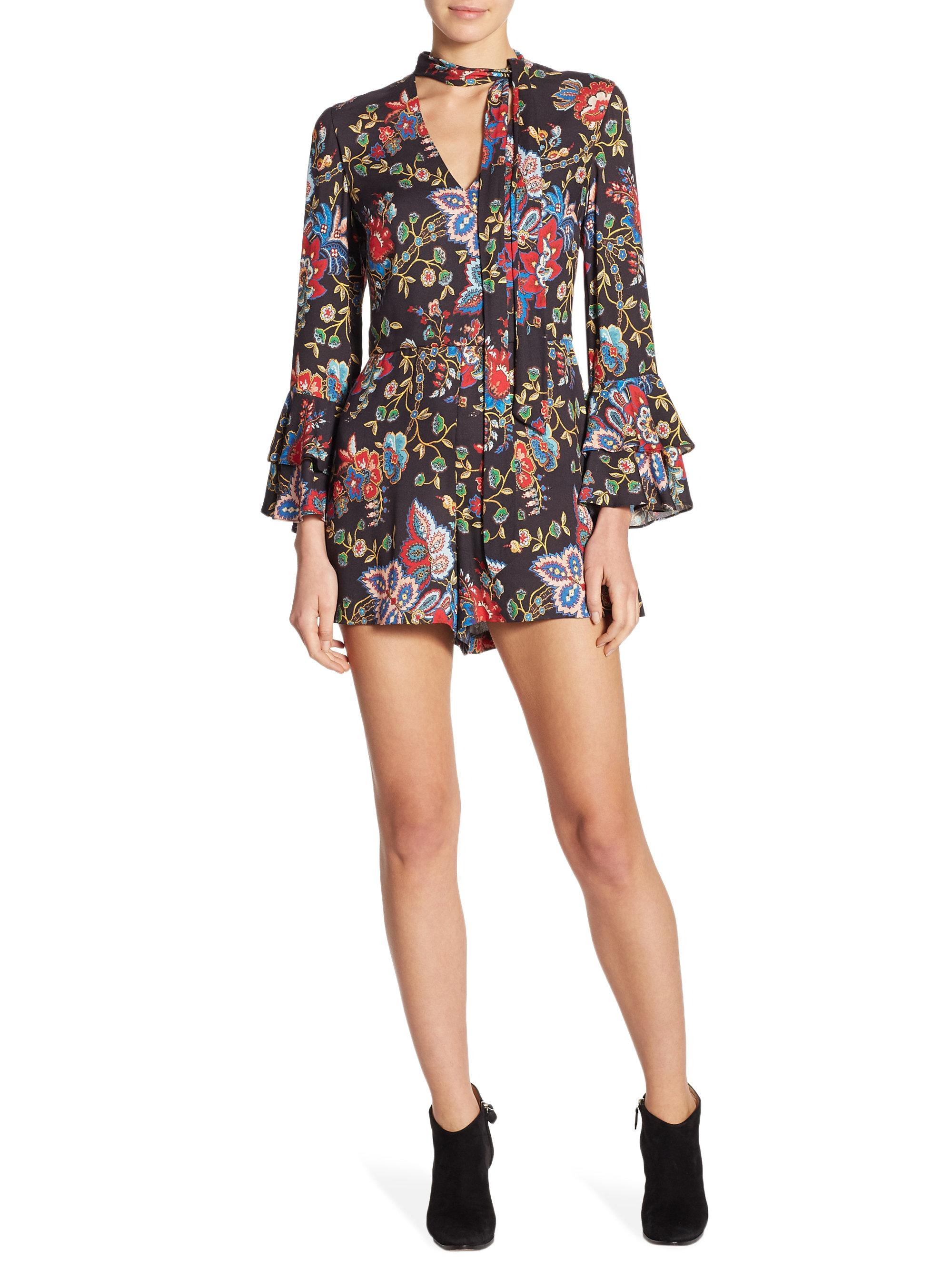 d1ce5415ff9 Lyst - Alice + Olivia Macall Floral Romper in Black