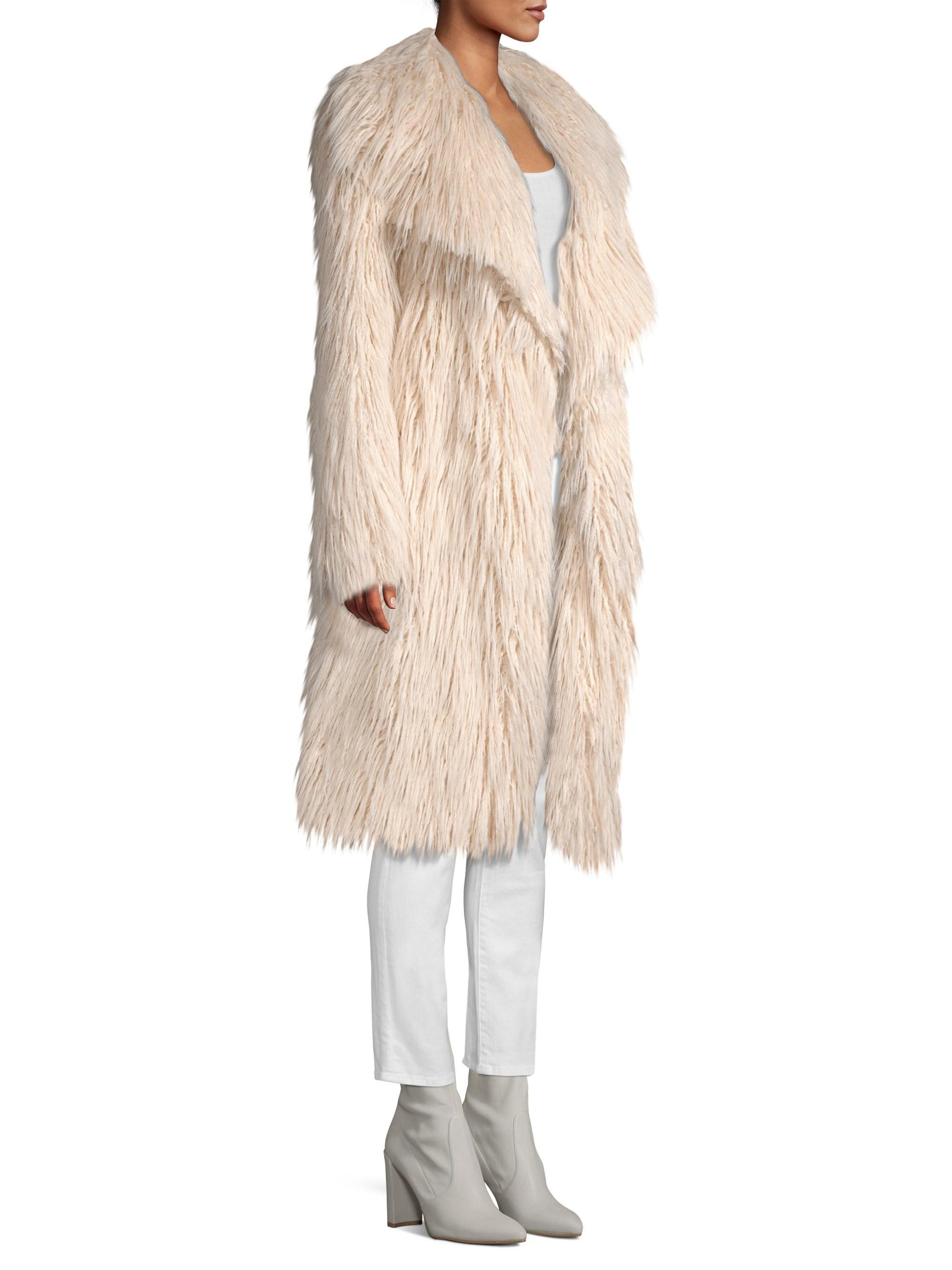 fd62b8a2ca74 MILLY Women's Riley Long Faux Fur Coat - Ecru in Natural - Lyst