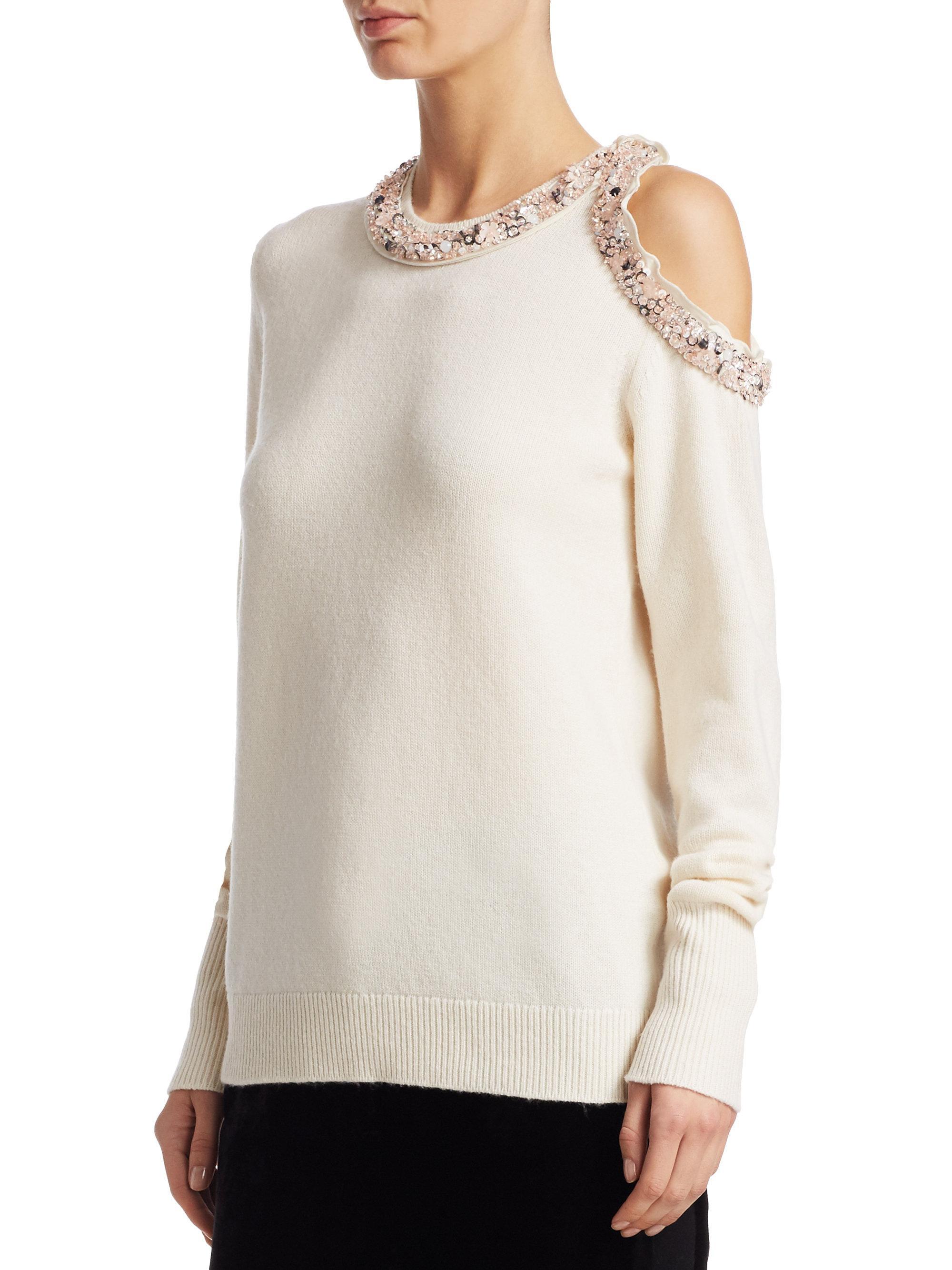 4b5118d48074c Lyst - 3.1 Phillip Lim Cold Shoulder Embellished Pullover in White