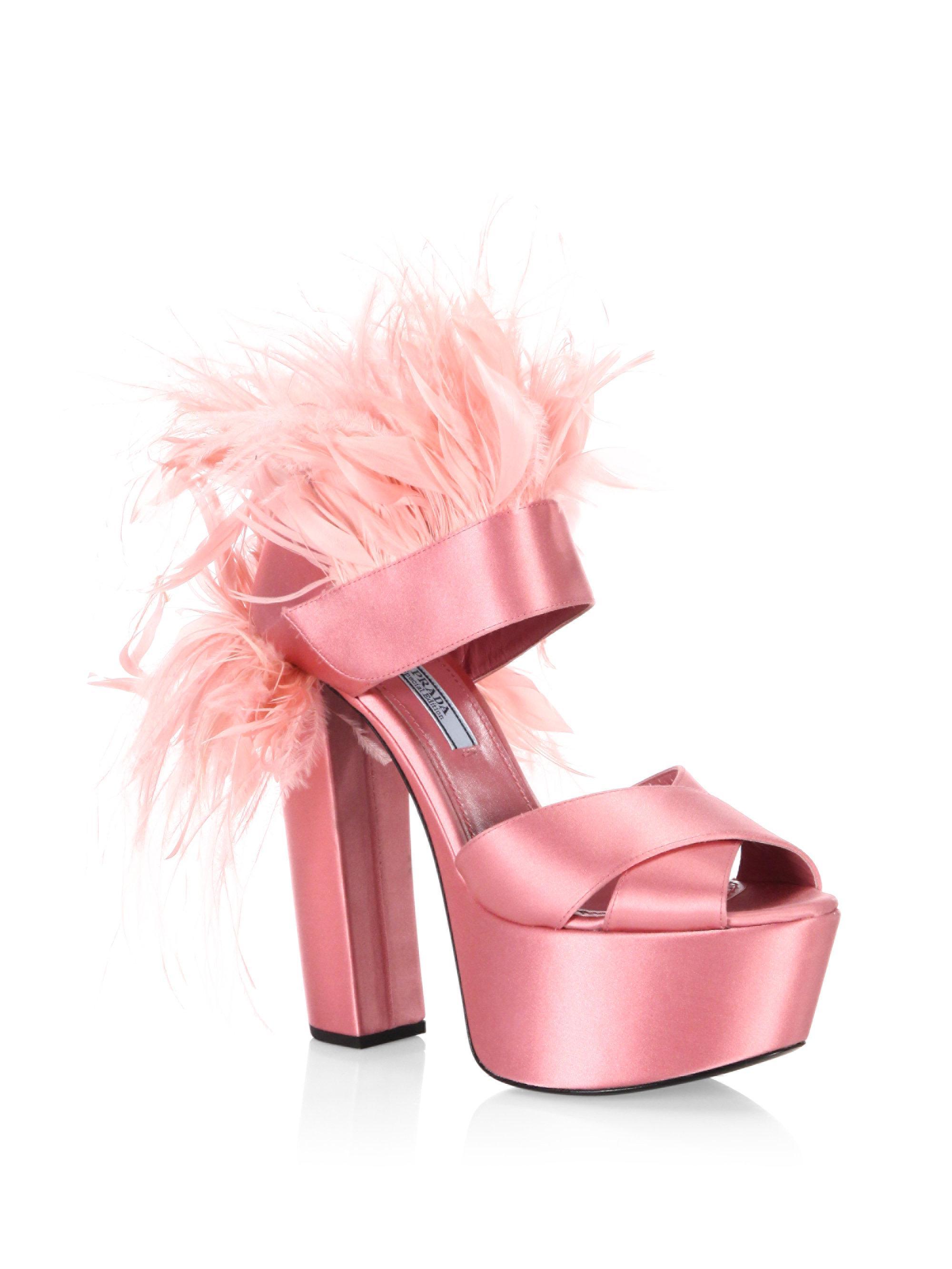f0856566fa3 Lyst - Prada Feather-trim Satin Platform Sandals in Pink