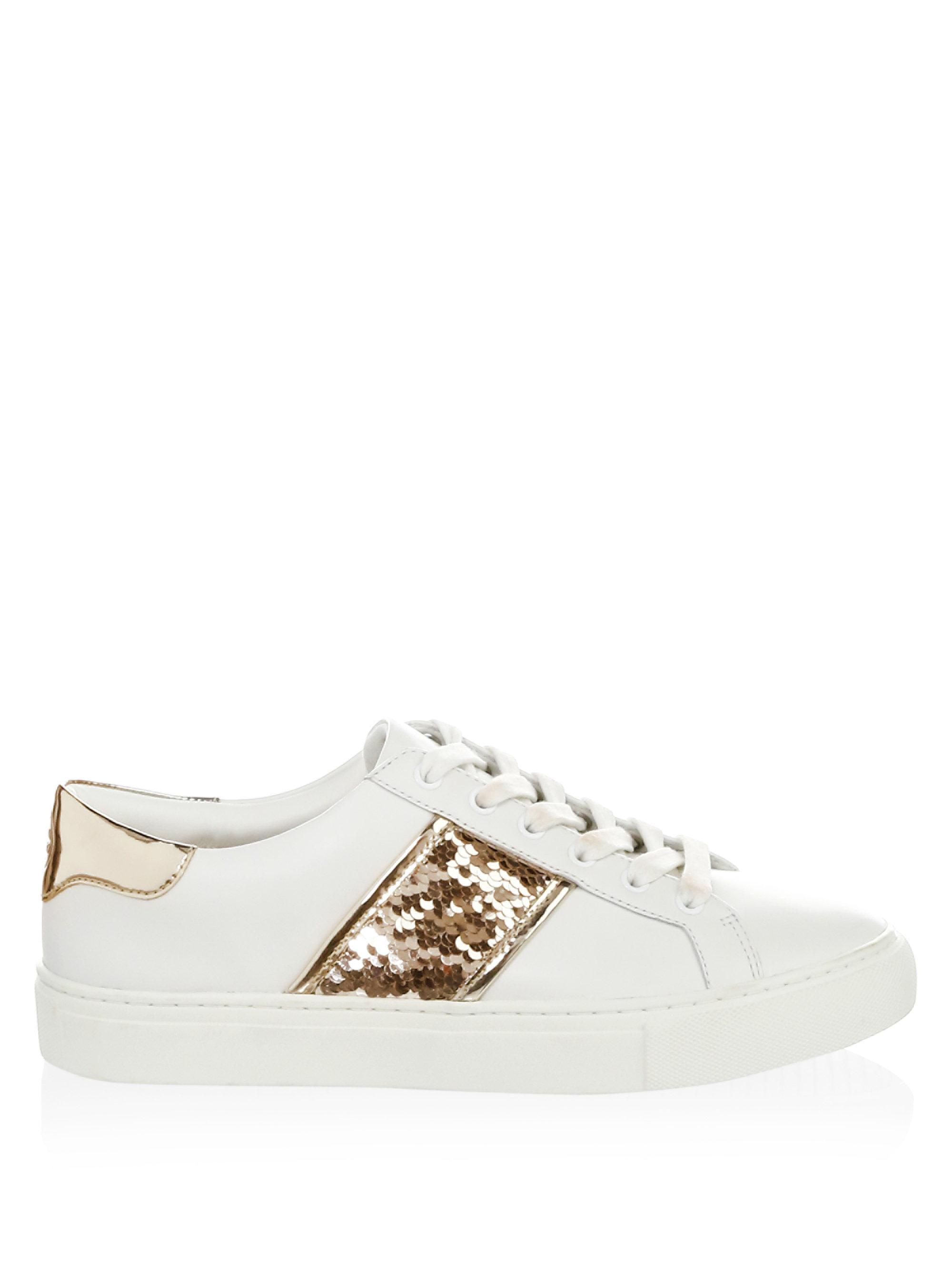 7956bf0b172 Lyst - Tory Burch Carter Sequin Leather Sneakers in White