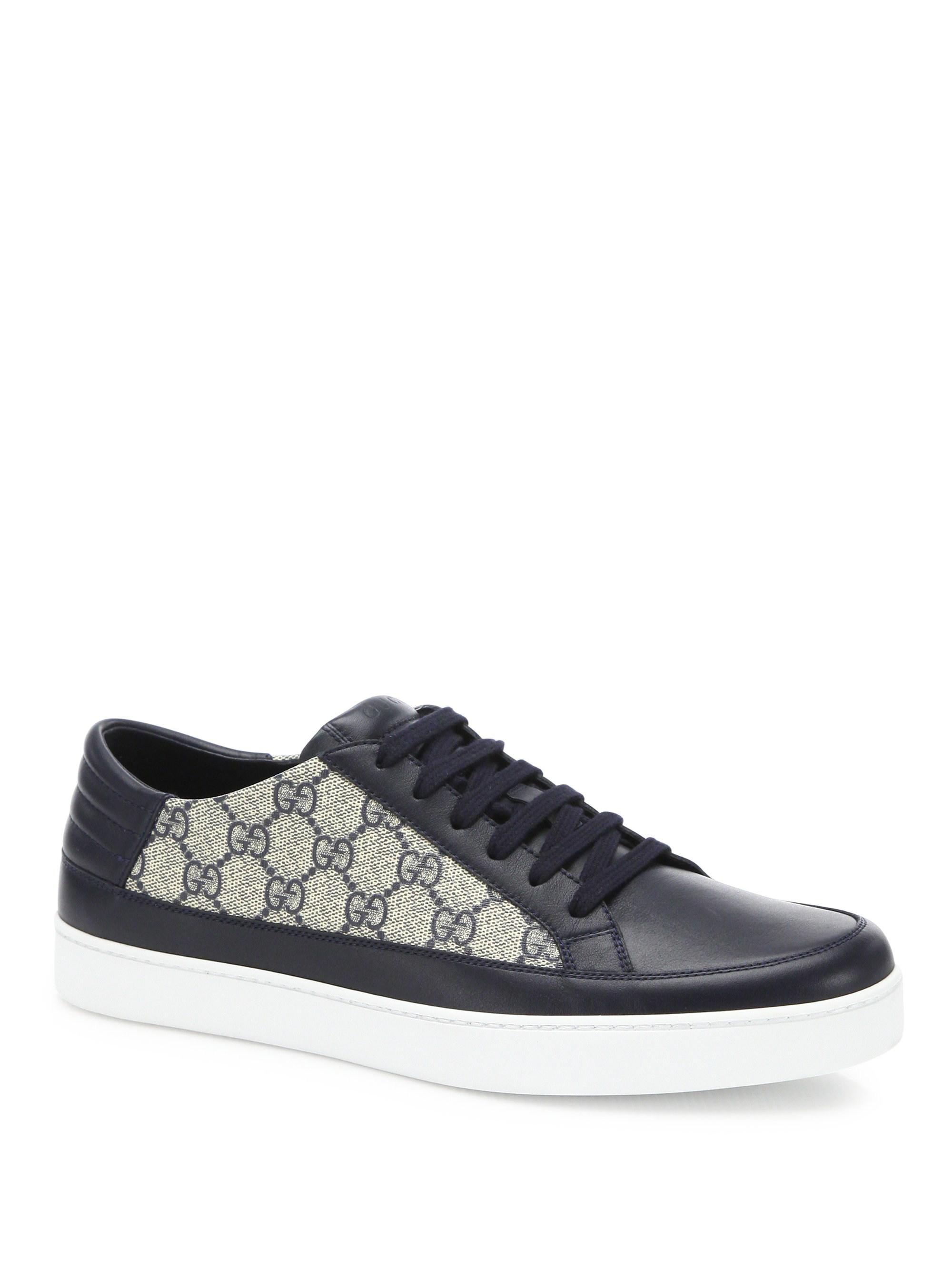 8a5335182f2 Gucci. Gray Men s GG Supreme Sneaker - Black Graphite - Size 6.5 Uk (7.5  Us).  765 From Saks Fifth Avenue