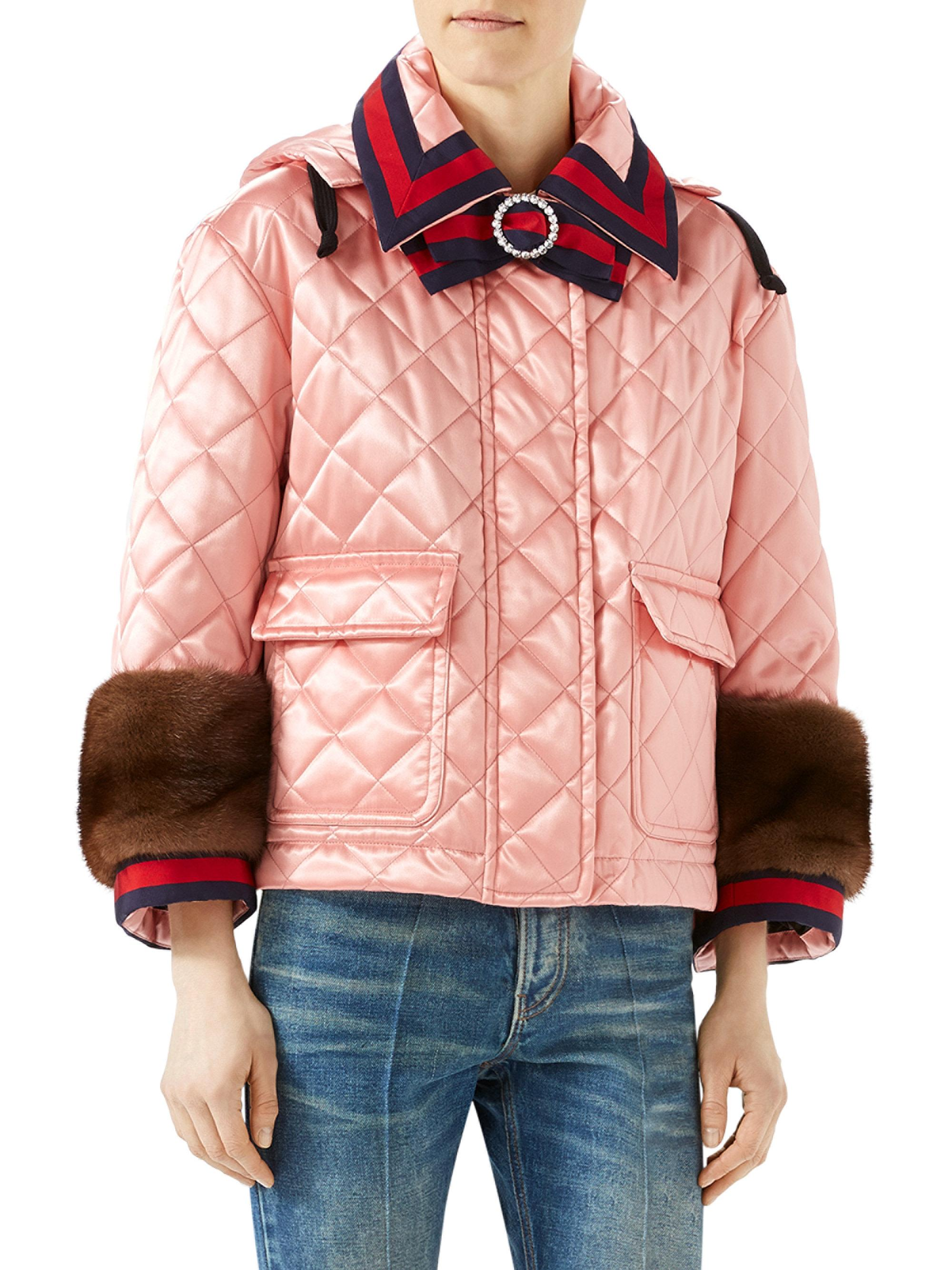 Lyst - Gucci Mink-trim Quilted Jacket in Pink : gucci quilted jacket - Adamdwight.com
