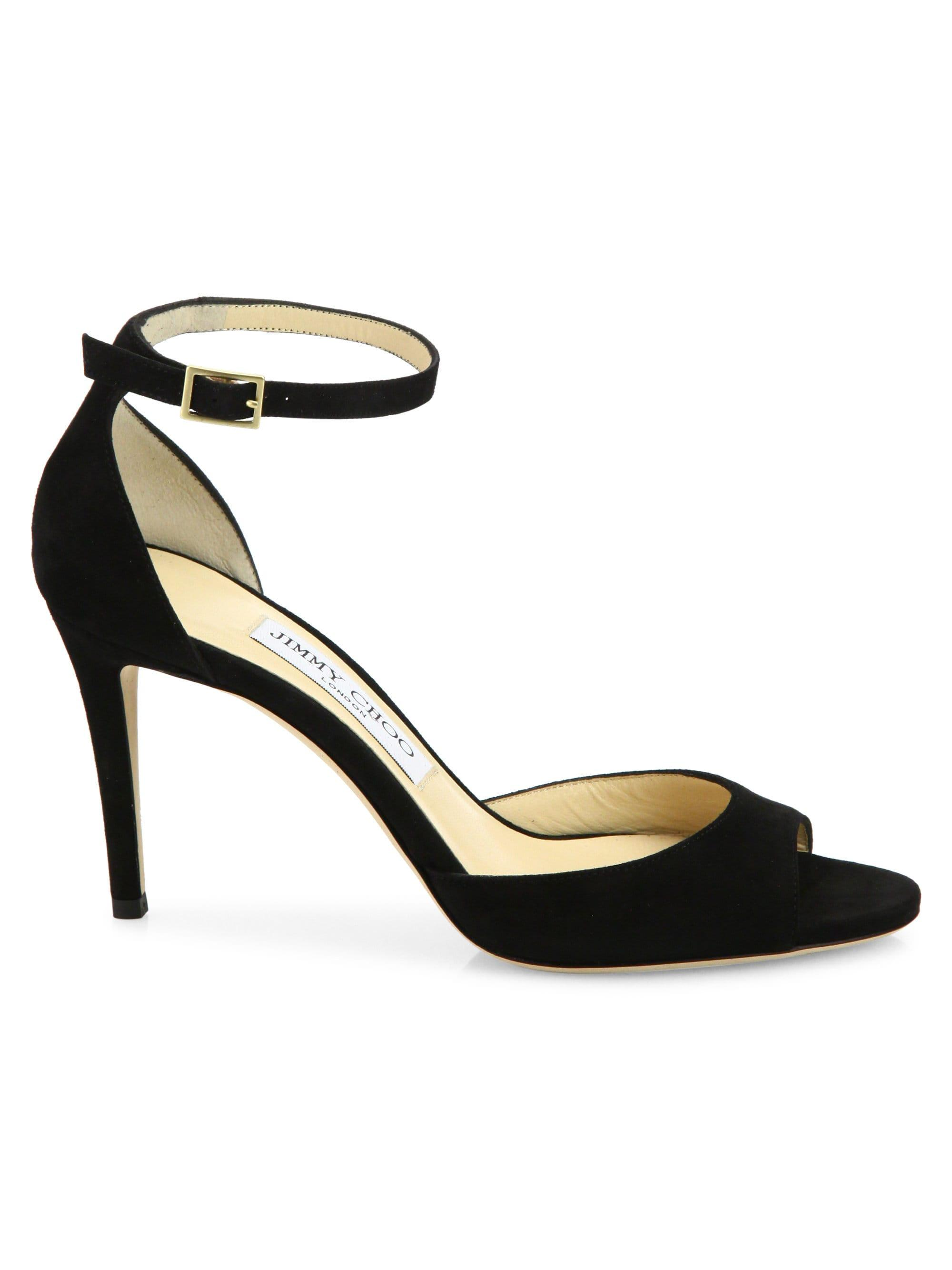 c61a81f9a394 Lyst - Jimmy Choo Annie 85 Suede D orsay Ankle-strap Sandals in Black