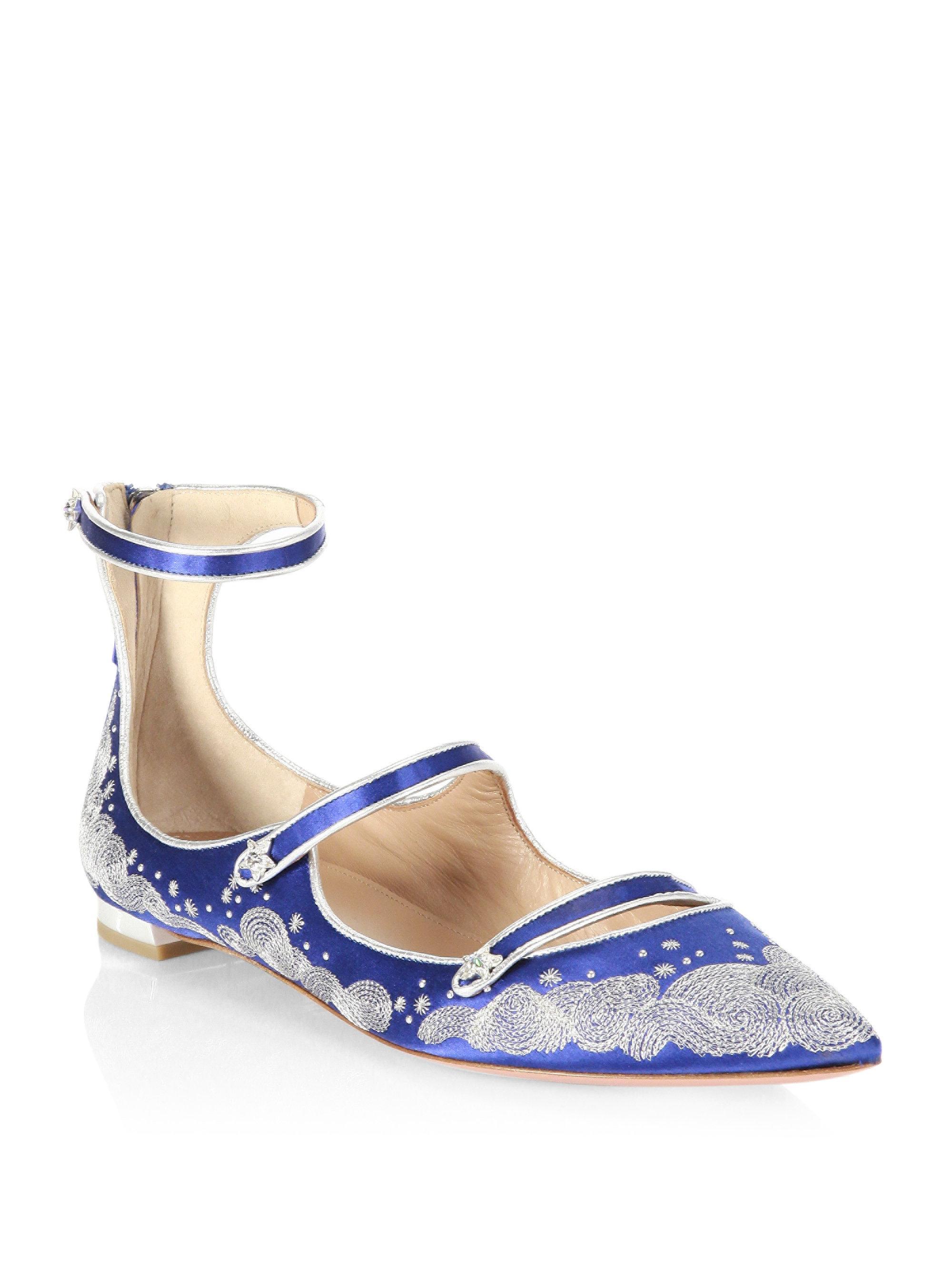 + Claudia Schiffer Cloudy Star Embroidered Satin Point-toe Flats - Blue Aquazzura 0rUQ4i4Q