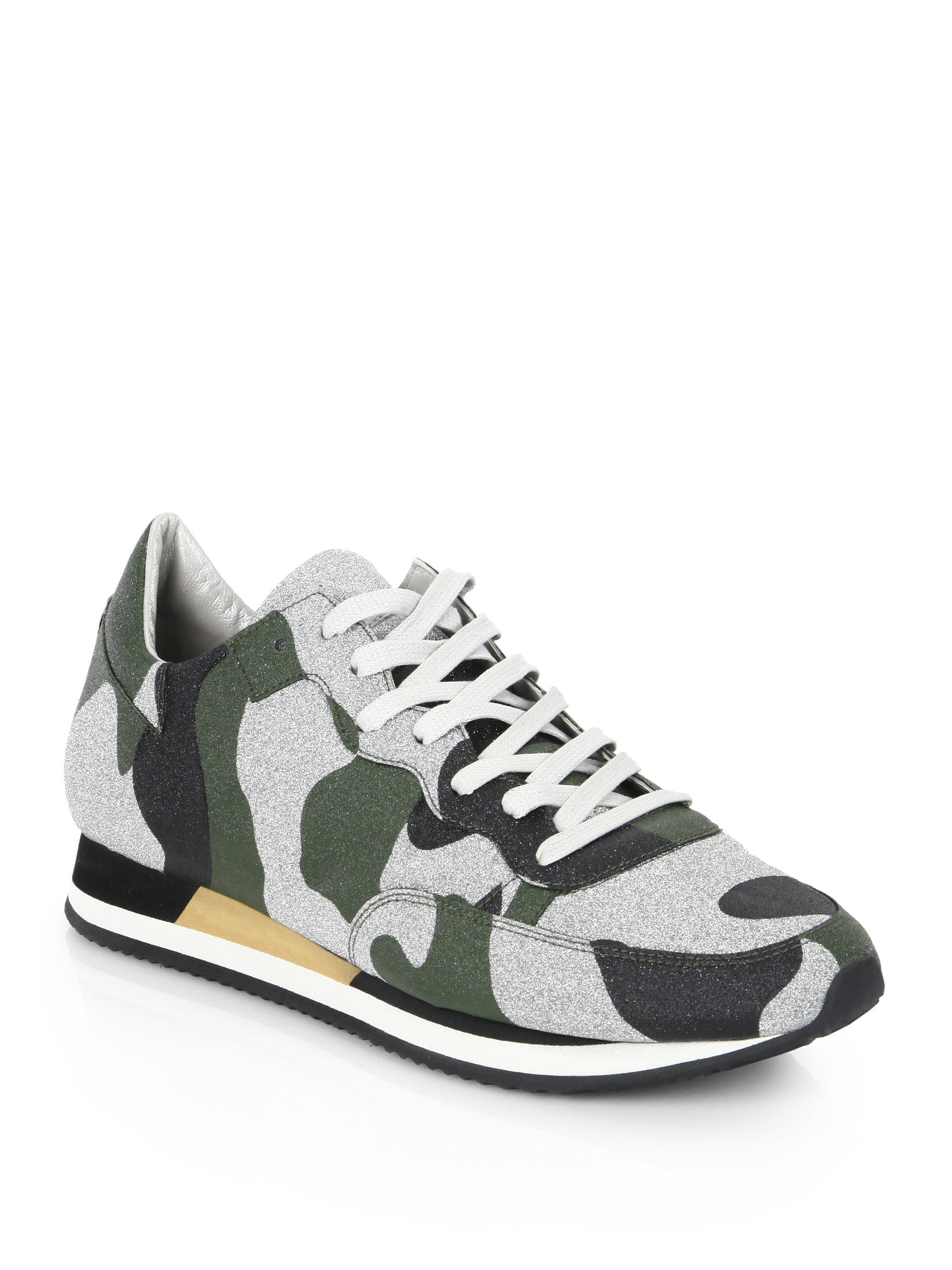 Philippe modelTropez Camo-Print Leather Low-Top Sneakers