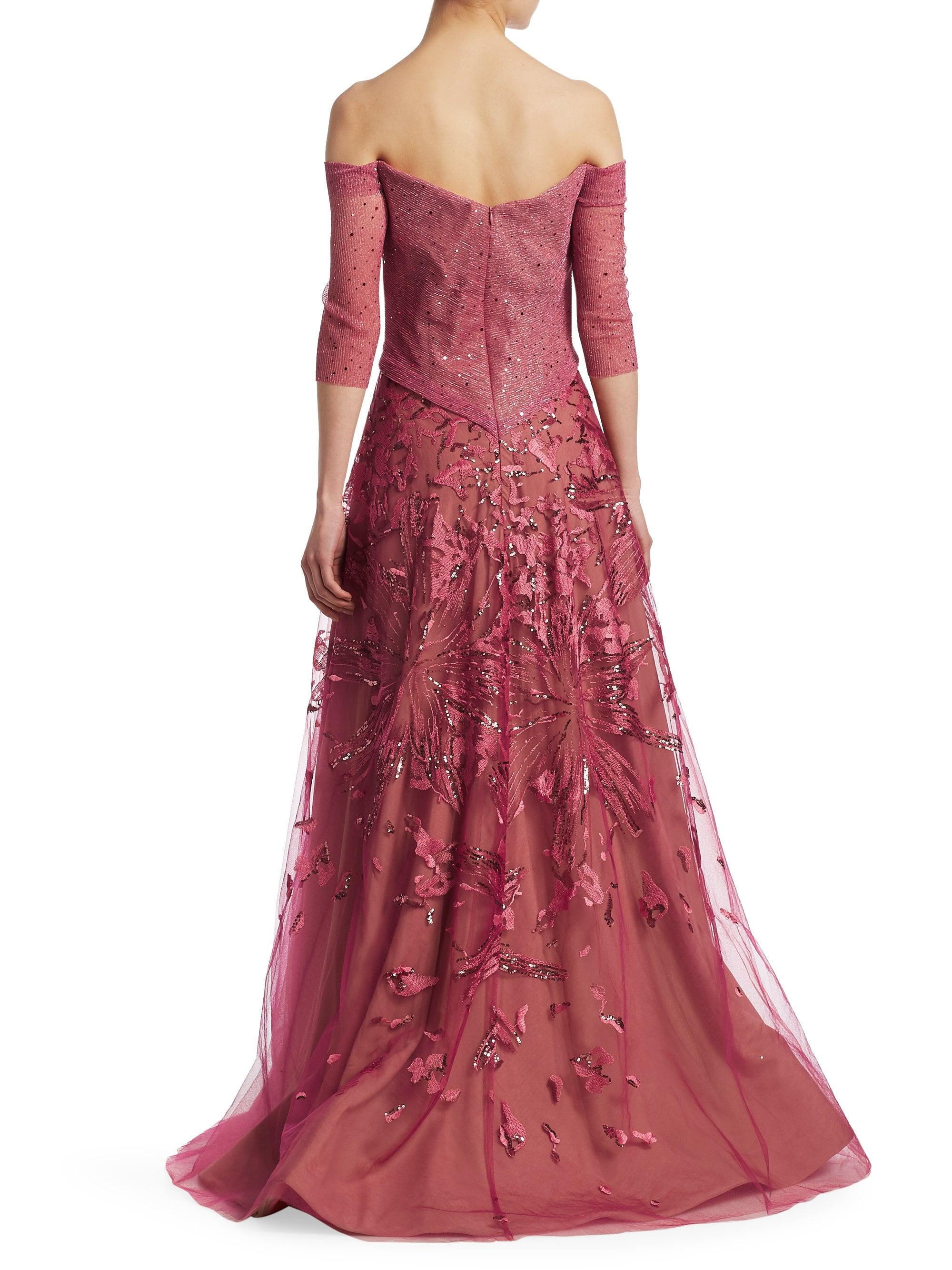 c06aa1eeaa72 Lyst - Rene Ruiz Women's Metallic Embroidered Tulle Gown - Rose - Size 12  in Pink