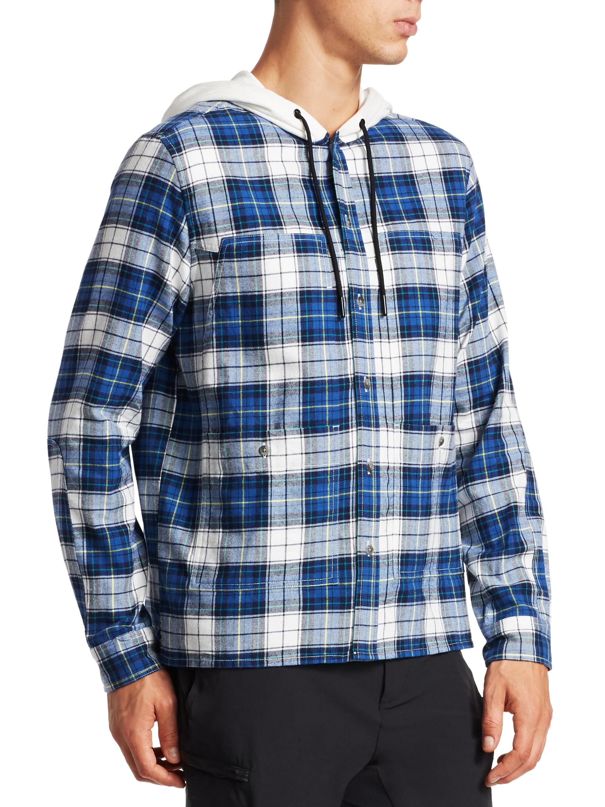 56cf2b05 Madison Supply Plaid Cotton Flannel Hooded Shirt in Blue for Men - Lyst