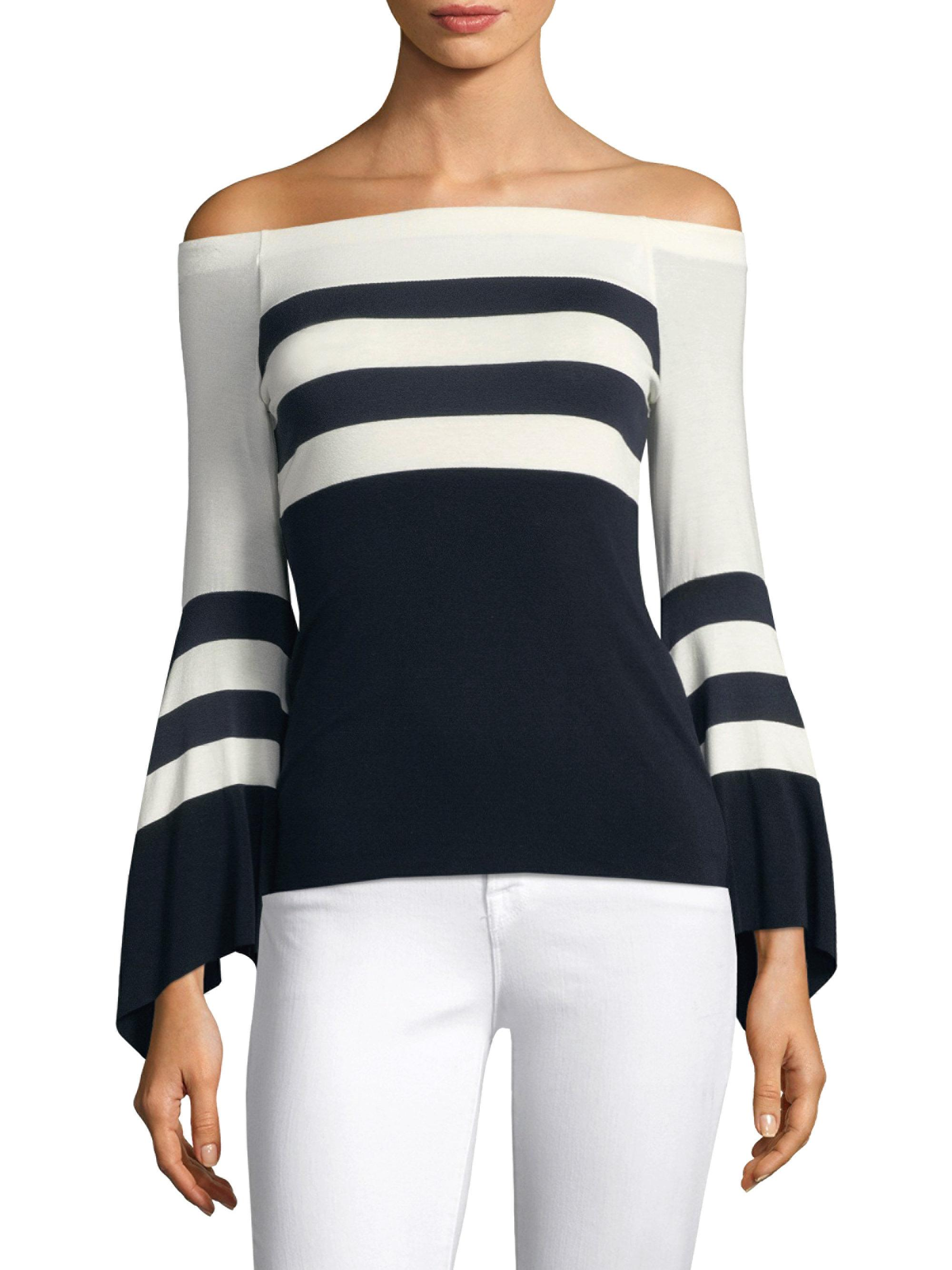 2f17c46b707ee Bailey 44 Off-the-shoulder Bell-sleeve Striped Top in Blue - Lyst