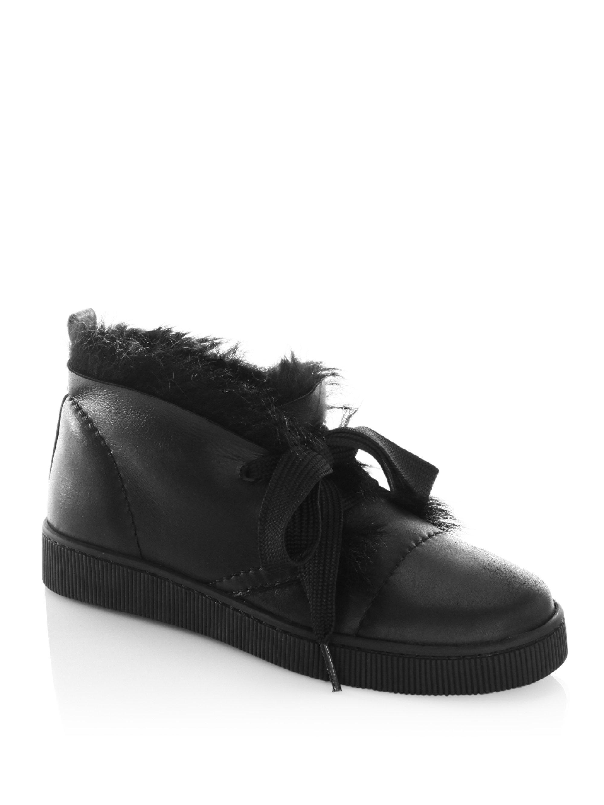 clearance 2014 newest geniue stockist cheap price Pedro Garcia Leather Shearling-Trimmed Sneakers discount Manchester buy cheap best sale clearance 2014 new HFrZ9GInWY