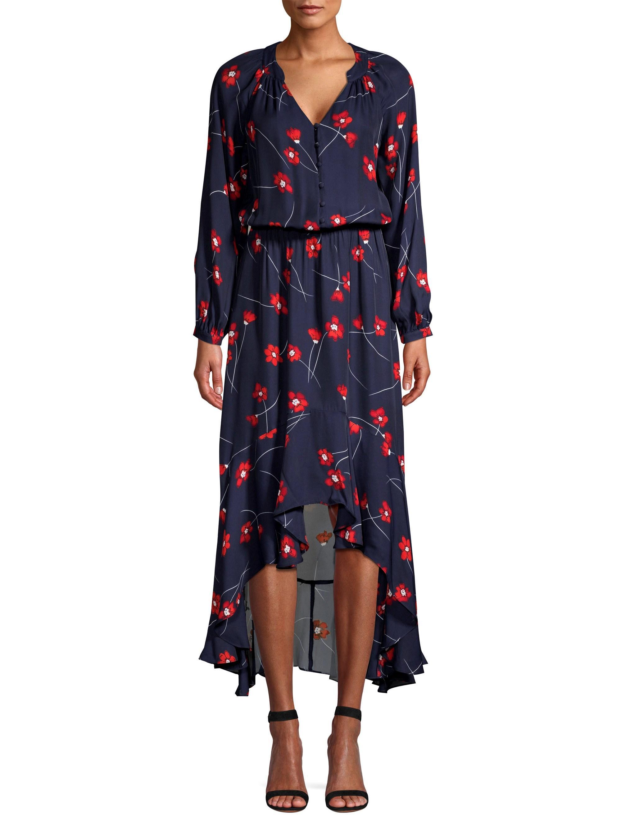 7bb2fd6894 Parker Women s Verity Silk Blend High-low Shirtdress - Aquarius Poppies -  Size Xxs in Blue - Lyst