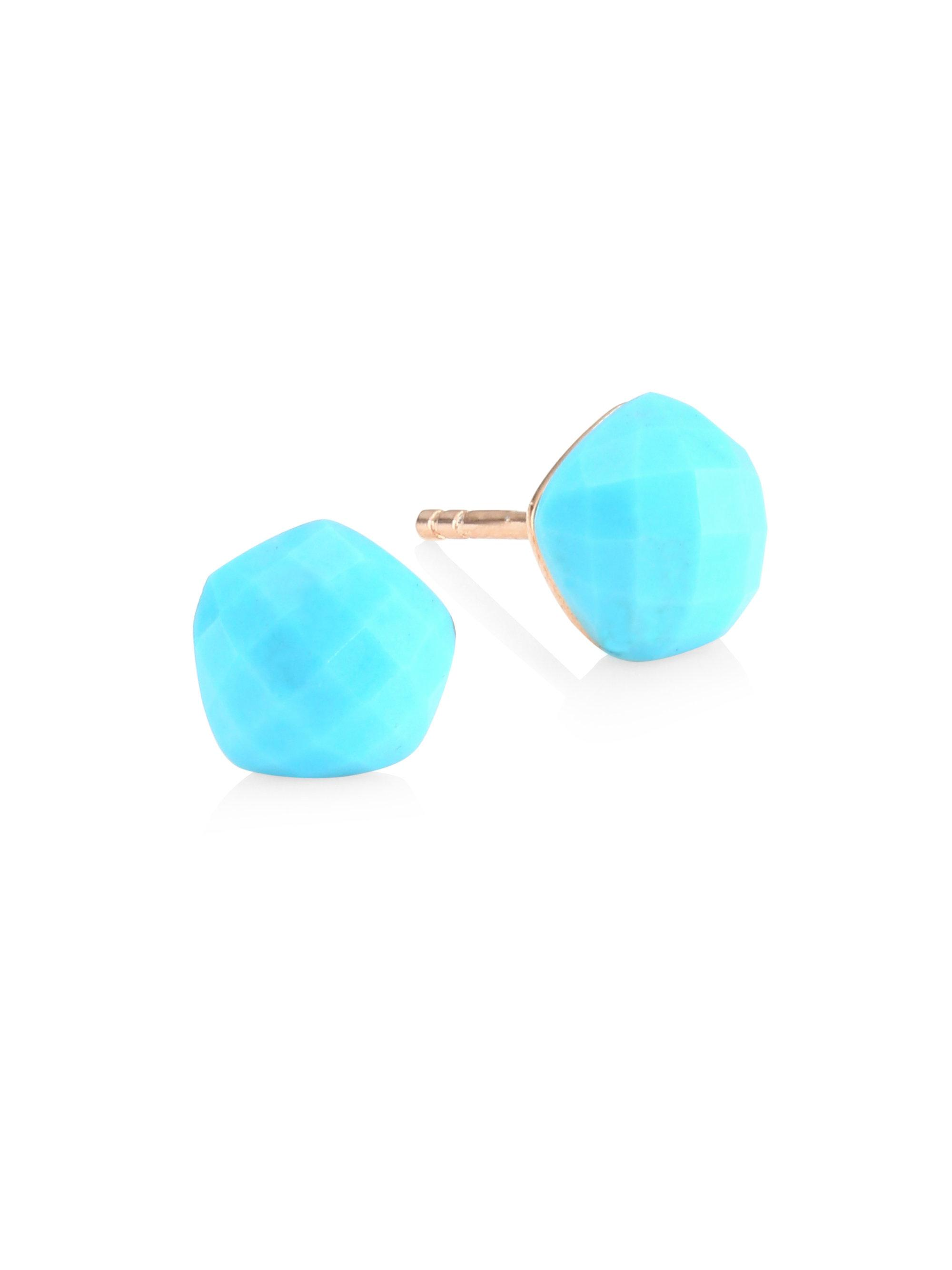 Rose Gold Nura Nugget Stud Earrings Turquoise Monica Vinader 0NDRGzkA