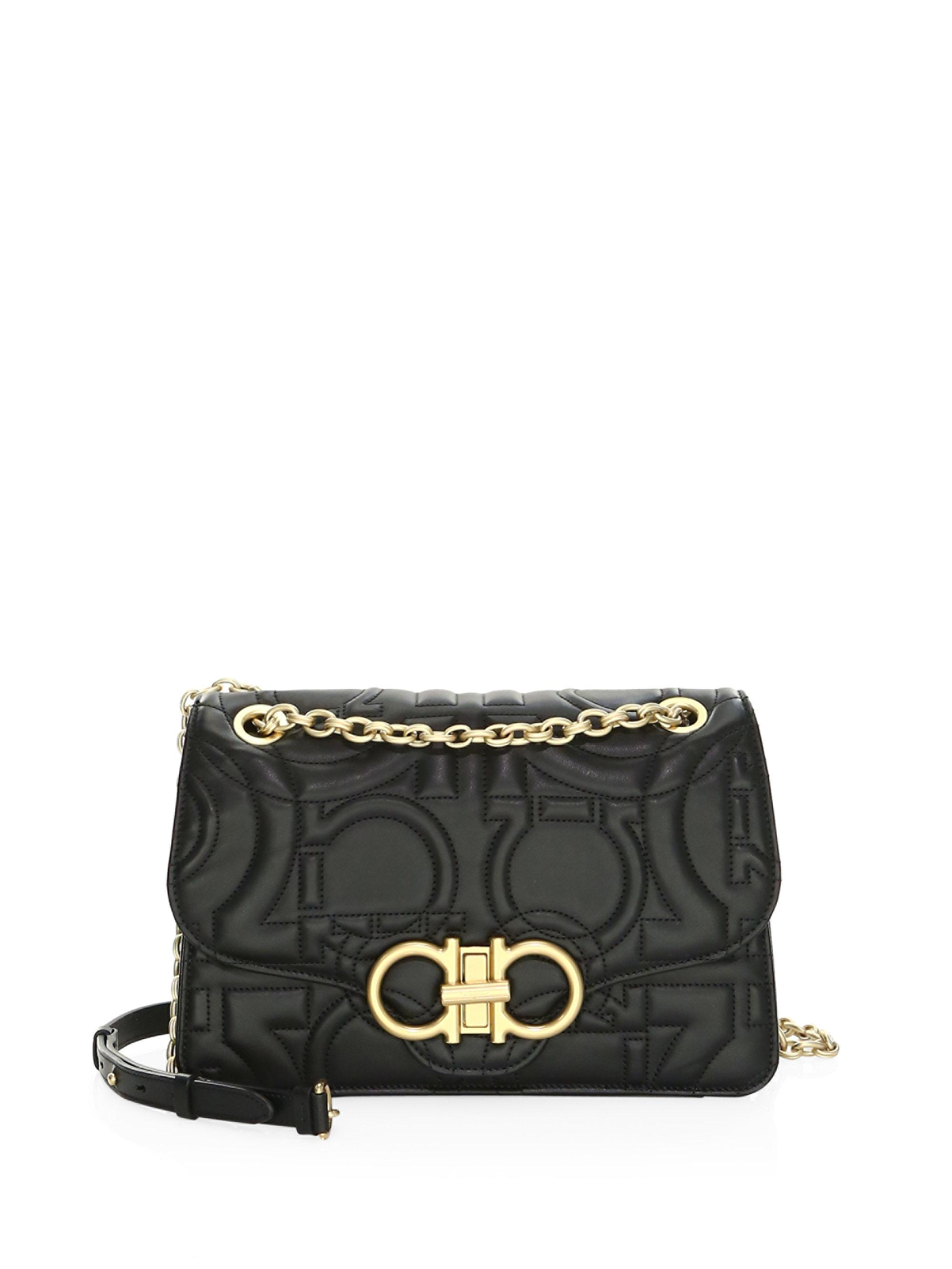 094a37ef2508 Lyst - Ferragamo Large Quilted Flap Leather Crossbody Bag in Black