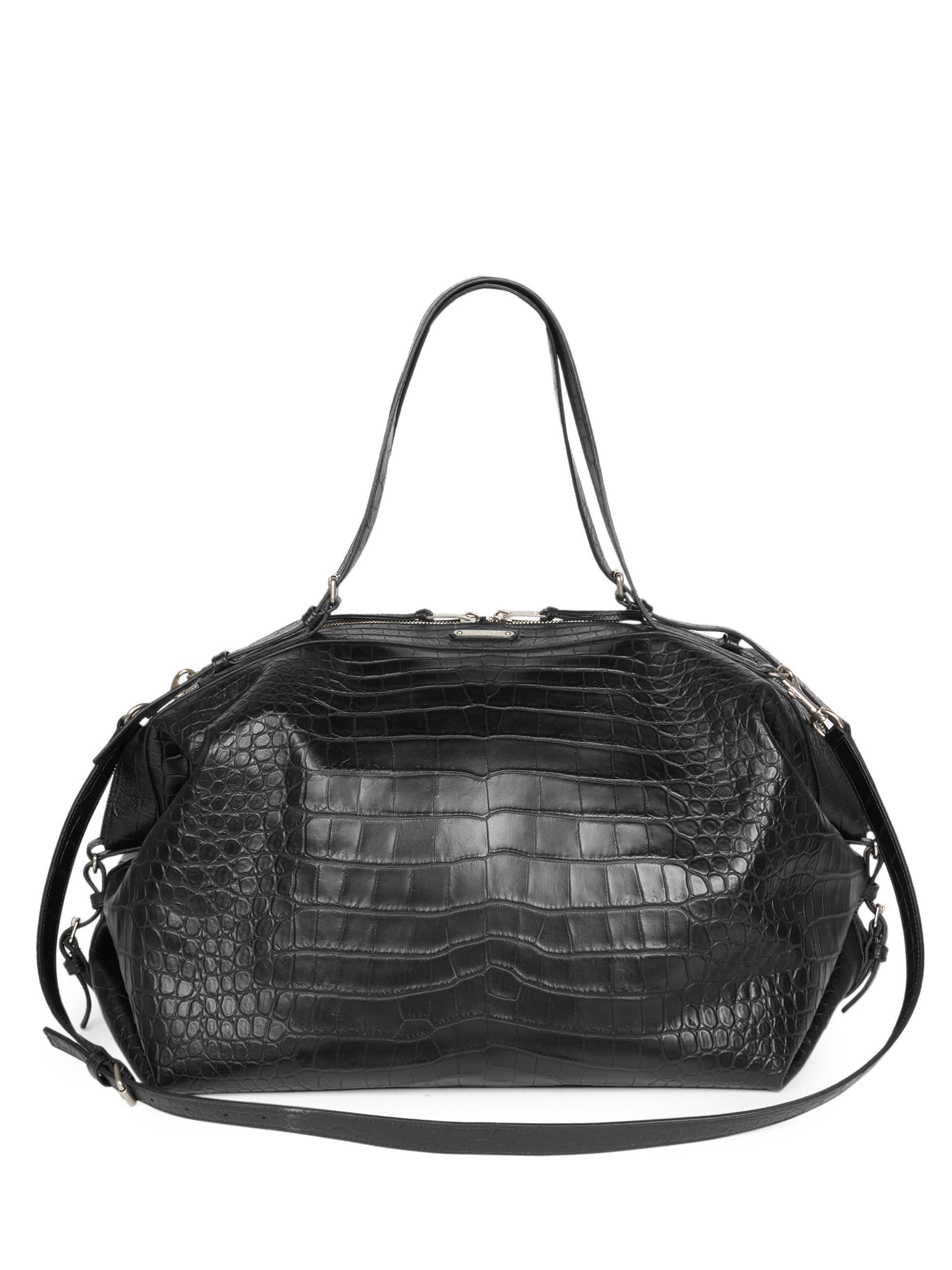 66677af5f22f Saint Laurent Crocodile Embossed Leather Duffel Bag in Black for Men ...