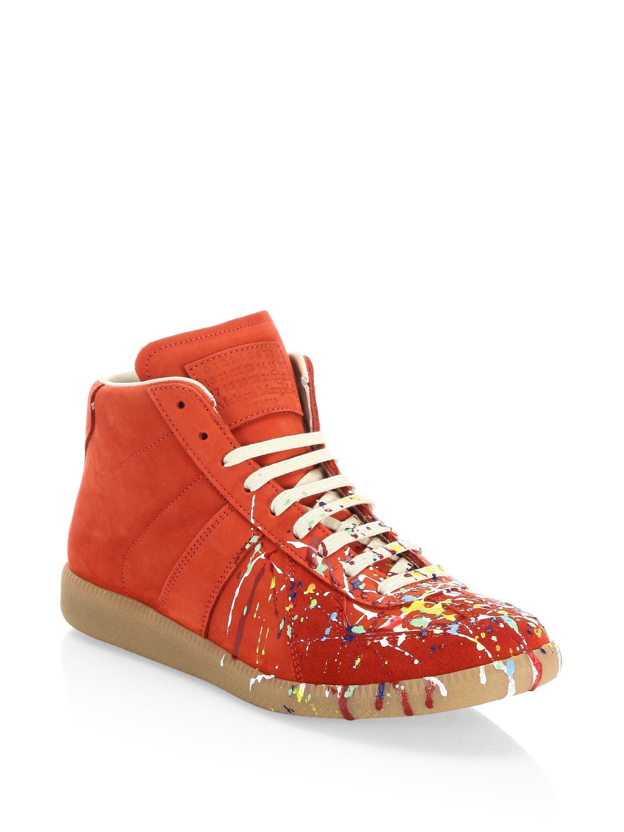 6ed064764f64 Maison Margiela Paint Splatter Replica Sneakers in Red for Men - Lyst