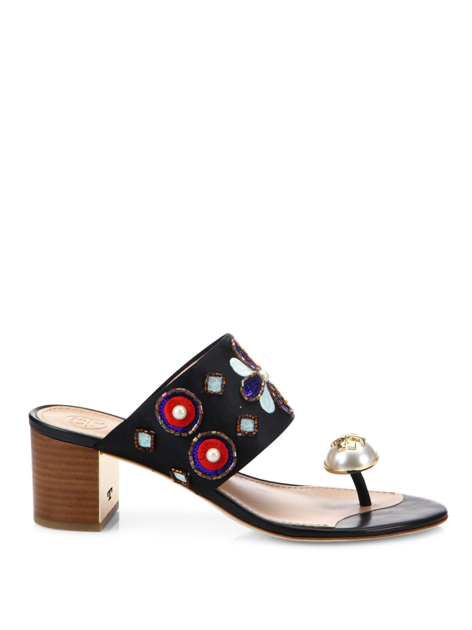 2a03de95530 Lyst - Tory Burch Estella Silk Blend Ring Slide Sandals in Black