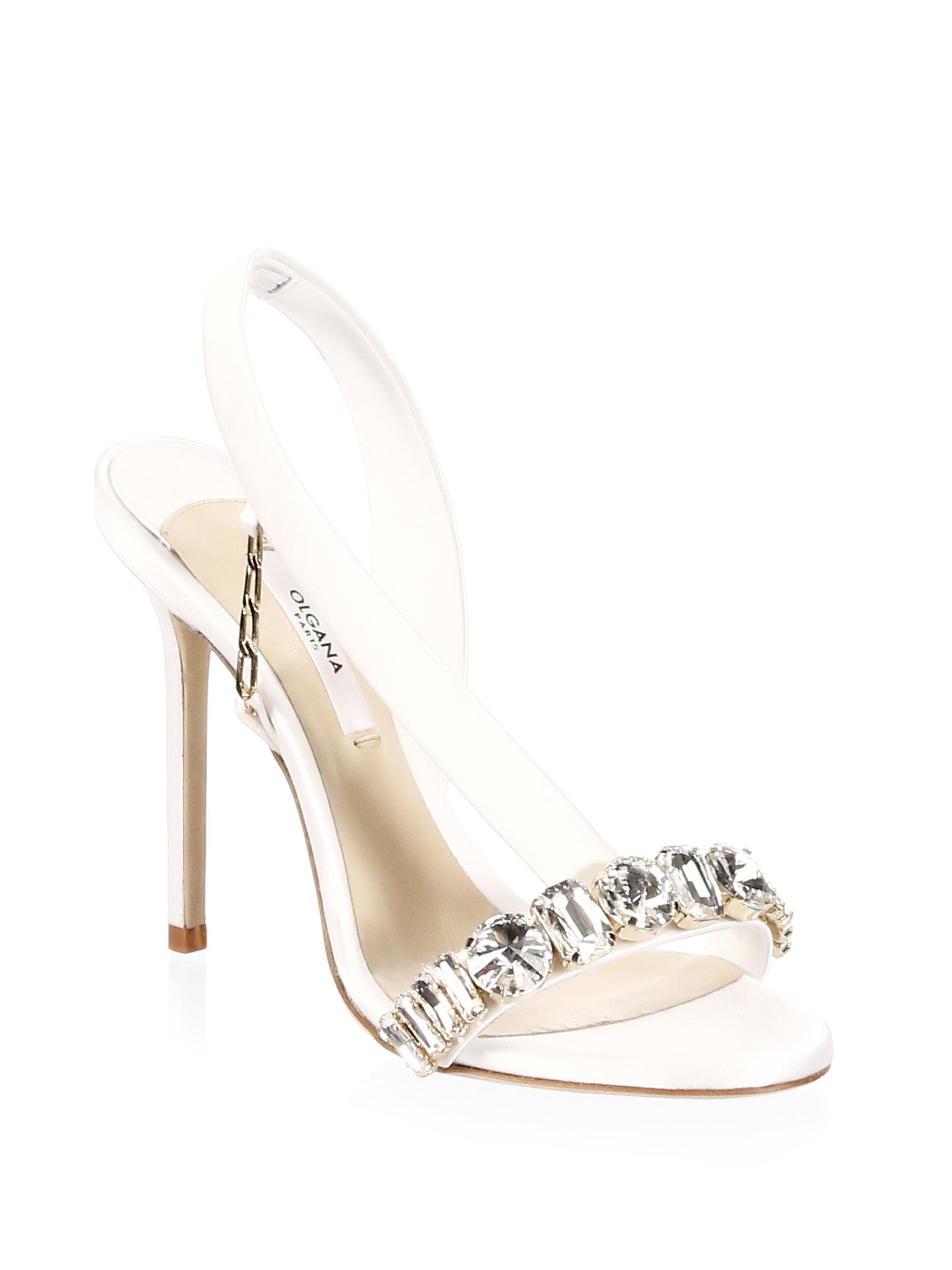 385ccf3c3 Lyst - Olgana Paris Jeweled Satin Pumps in White
