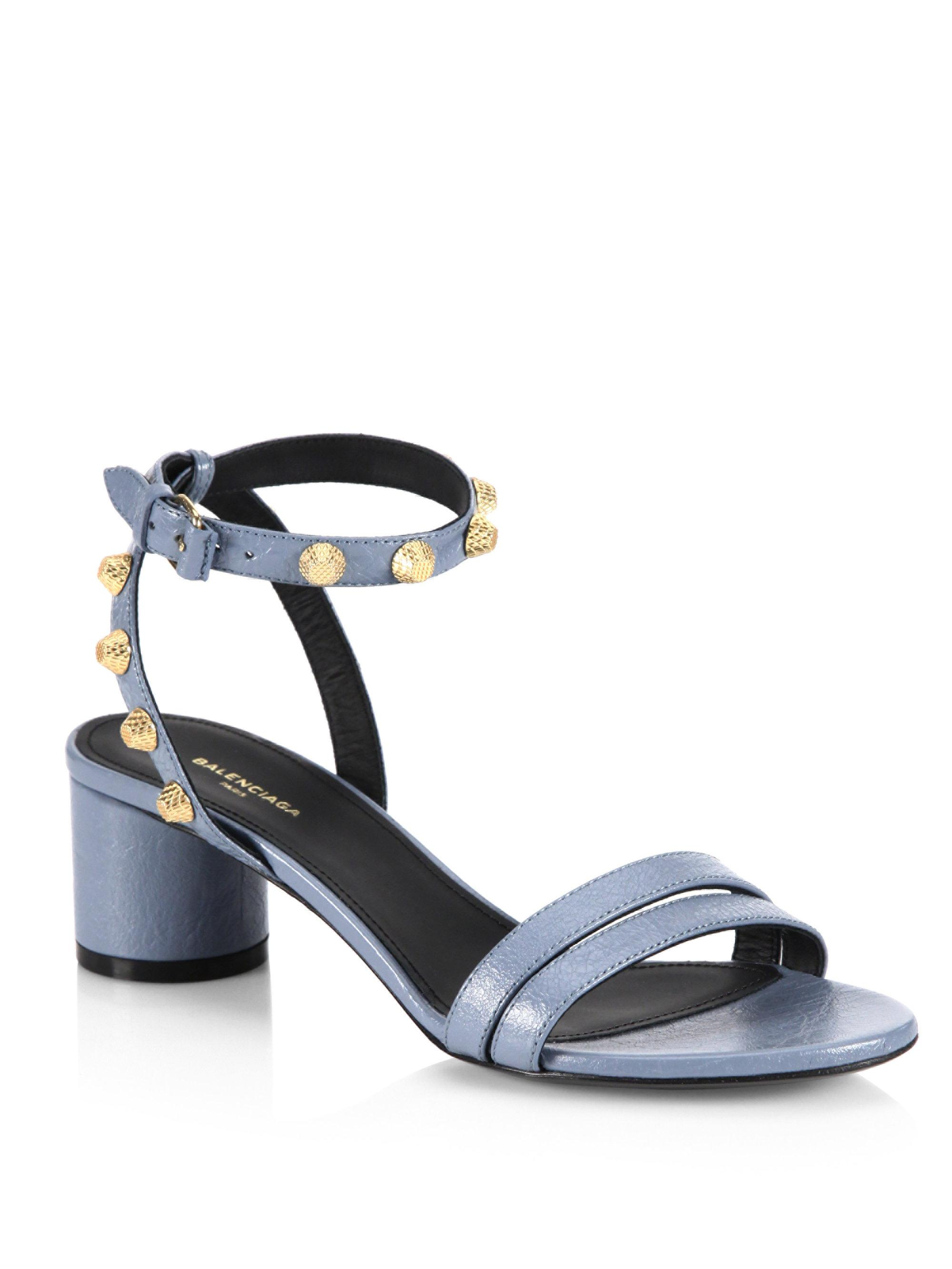 401b88c2575 Lyst - Balenciaga Leather Block Heel Studded Sandals in Blue