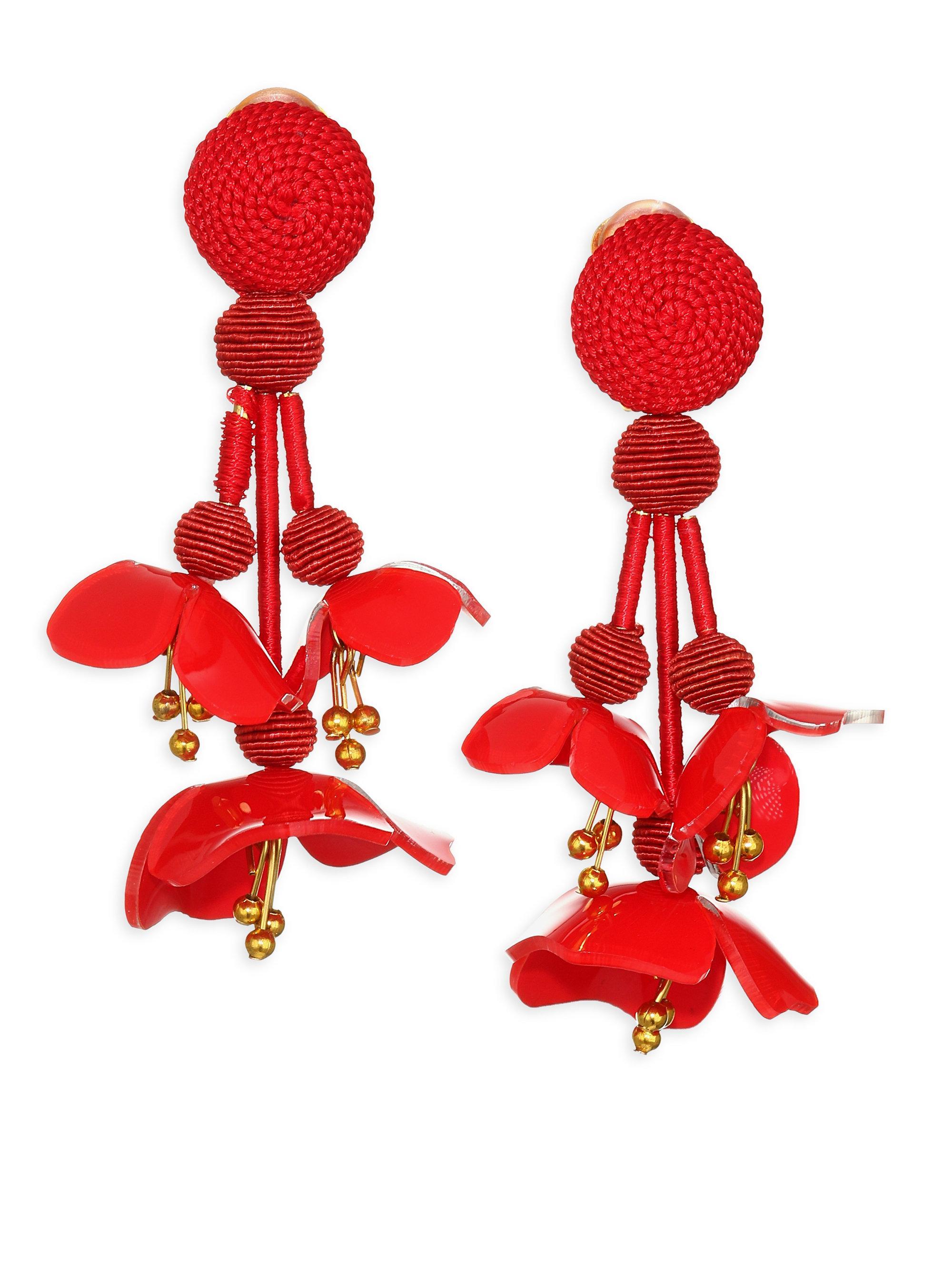 Beaded Acetate Clip Earrings - Red Oscar De La Renta J8jvHjQUs