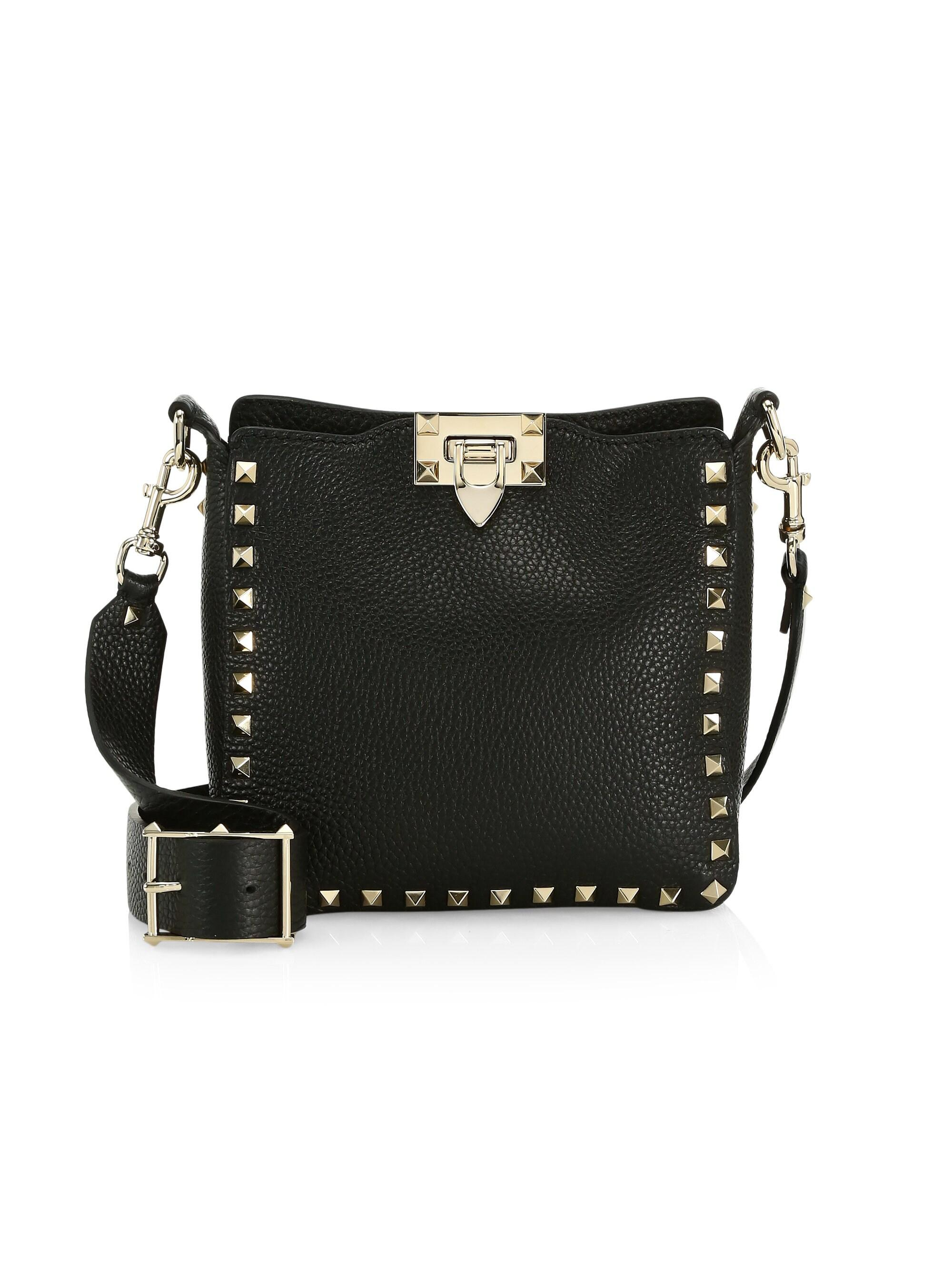 6cc8116977e Valentino Rockstud Mini Hobo Crossbody Bag in Black - Lyst
