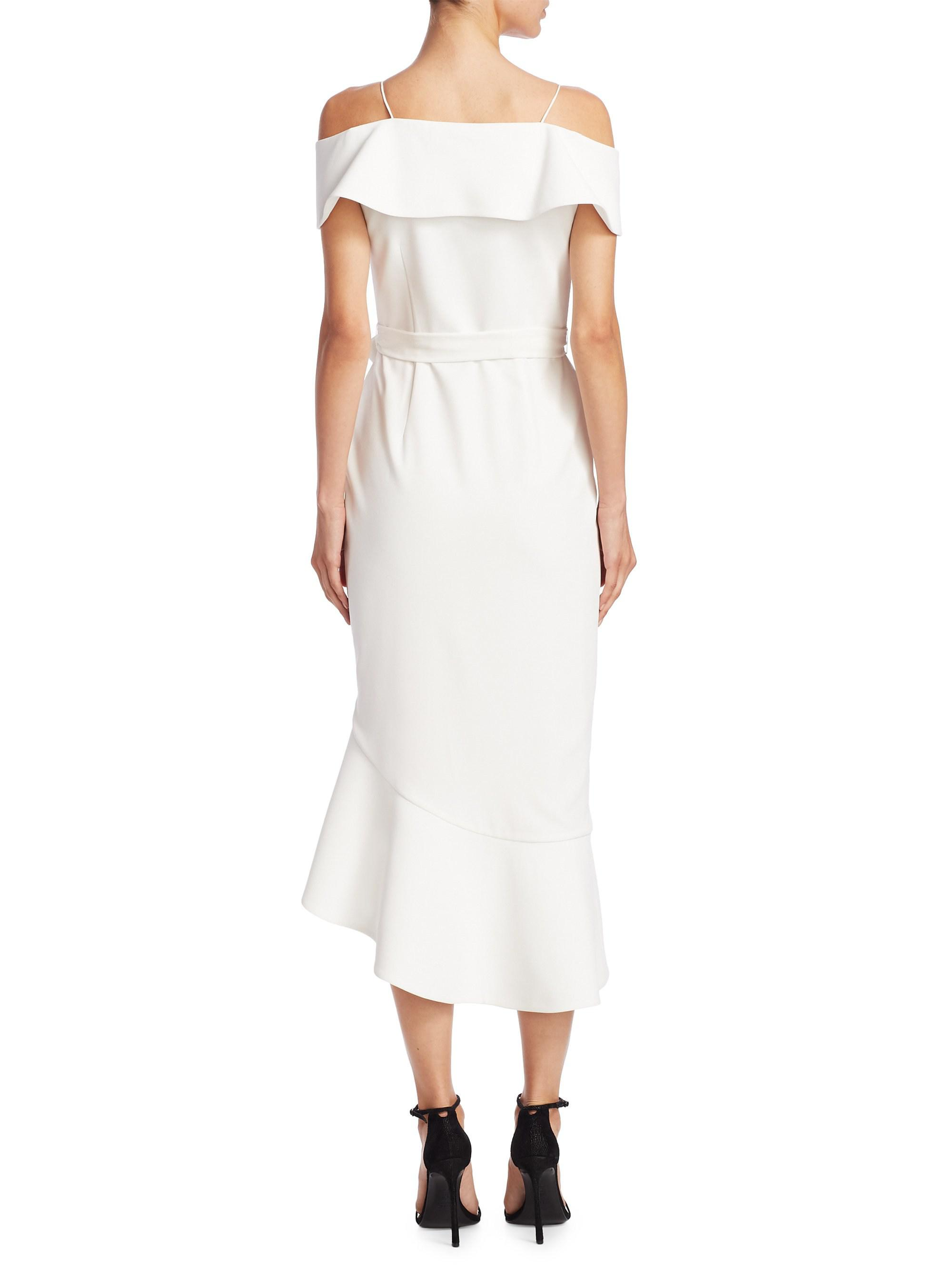 f898b8f12ef Alice + Olivia Women s Josie Off-the-shoulder Midi Dress - Off White ...