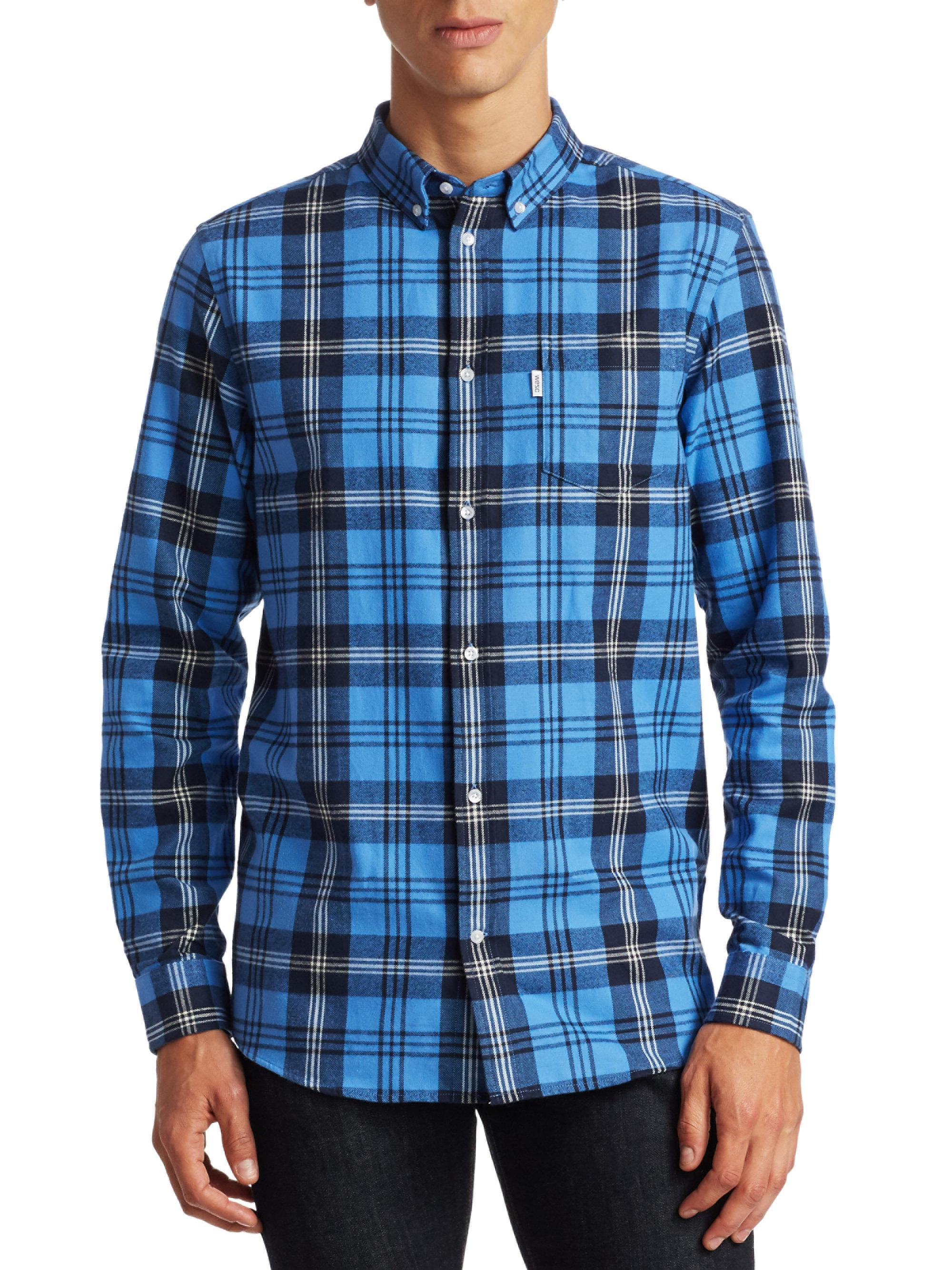 16bd0a1424e Lyst - Wesc Vernon Plaid Regular-fit Cotton Button-down Shirt in ...