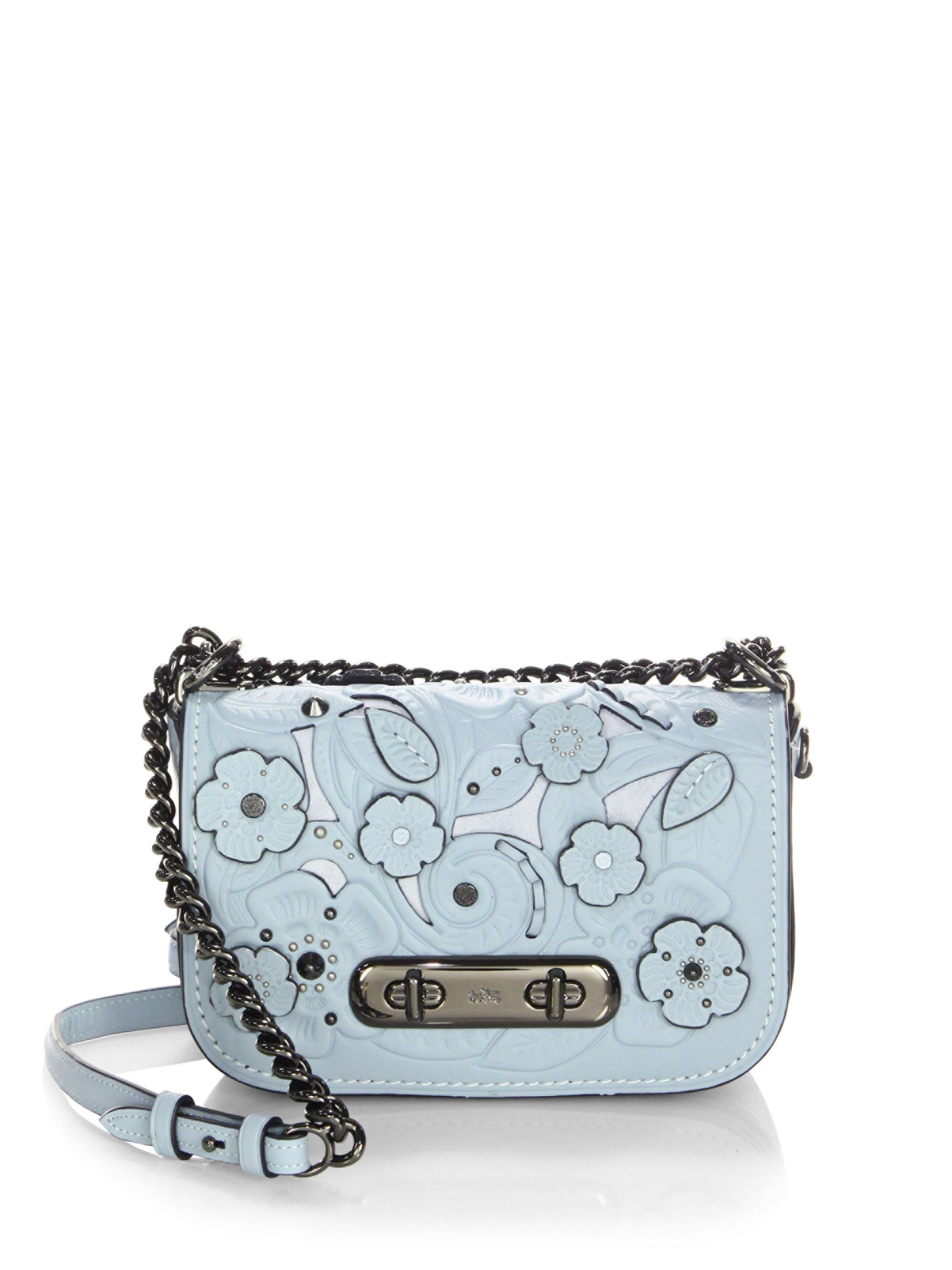 Lyst - Coach Swagger Flower Leather Crossbody Bag In Blue