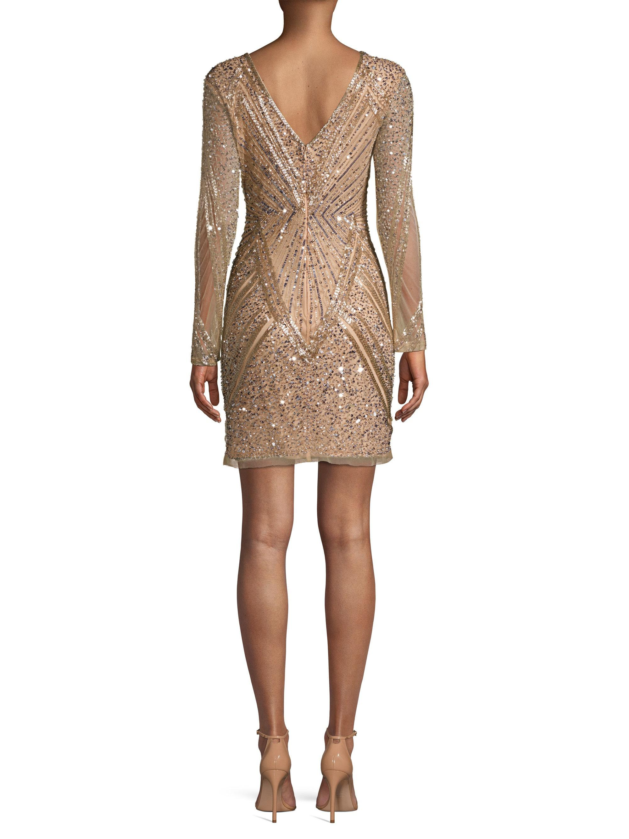 92fa918a86 Parker Black Janette Sequin Geometric Sheath Dress in Natural - Lyst