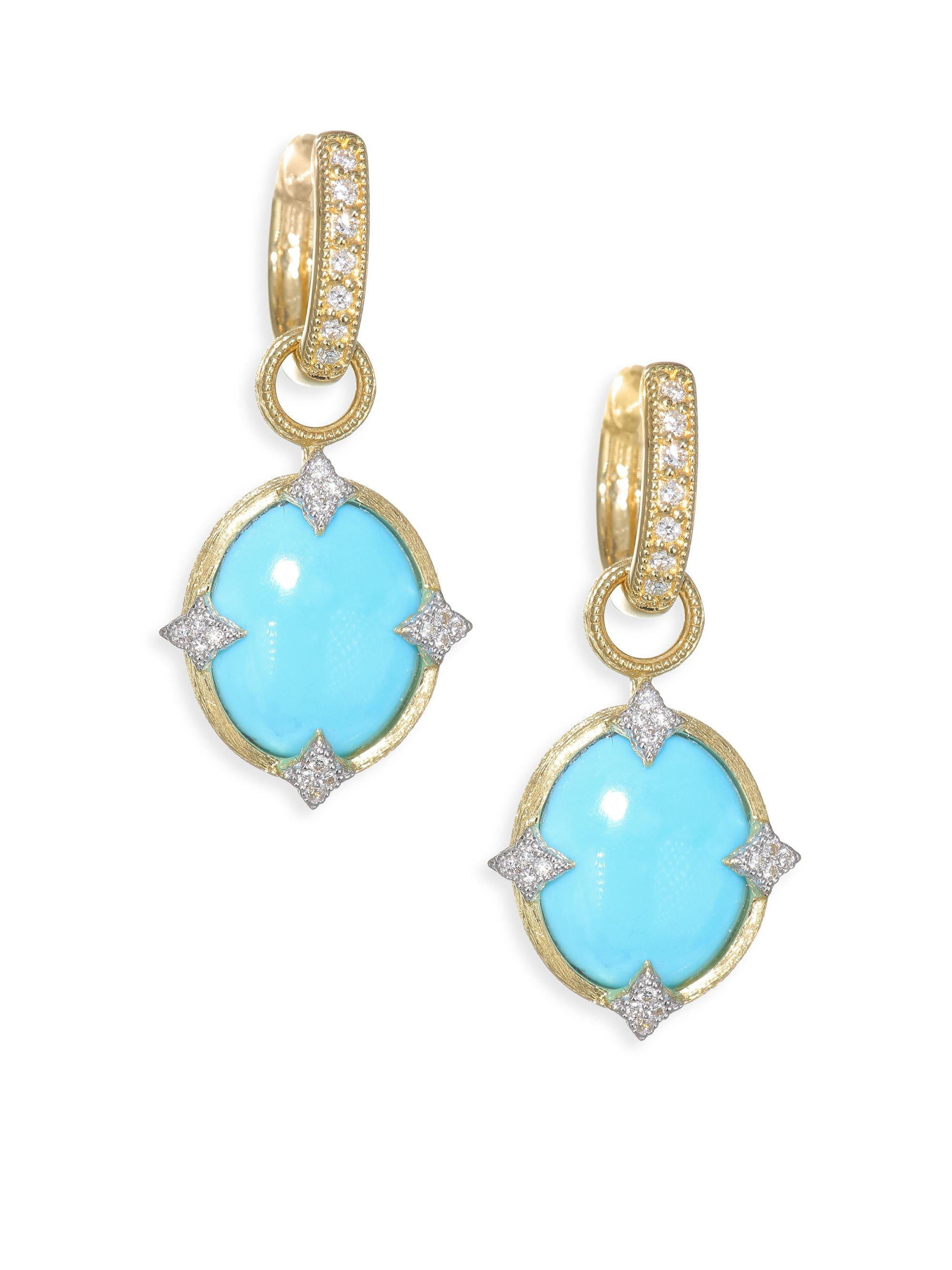 Jude Frances Moroccan Elongated Turquoise & Diamond Earring Charms 7jK6t
