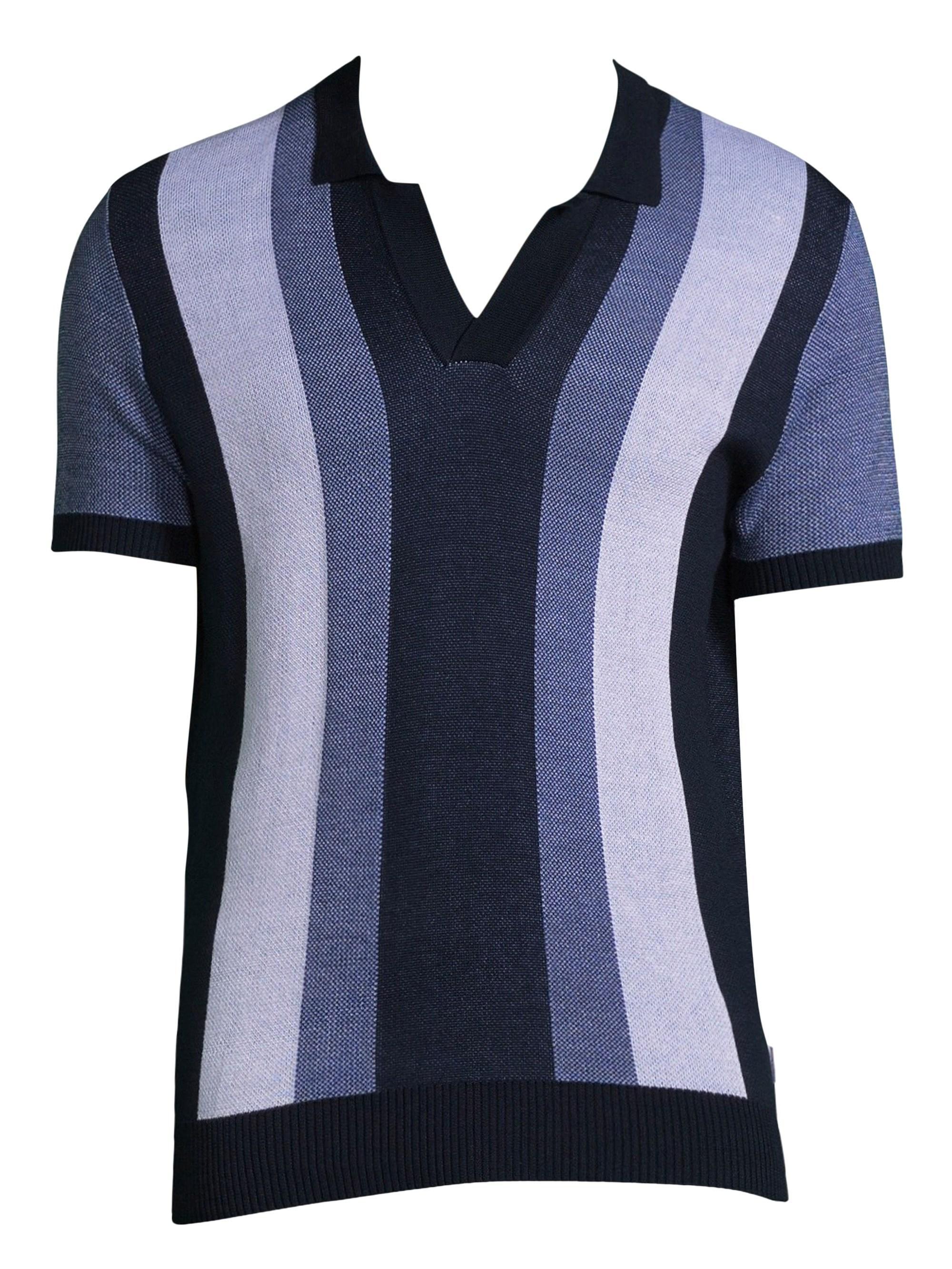 617230516 Orlebar Brown Men's Horton Stripe Cotton V-neck Polo Shirt - Navy ...