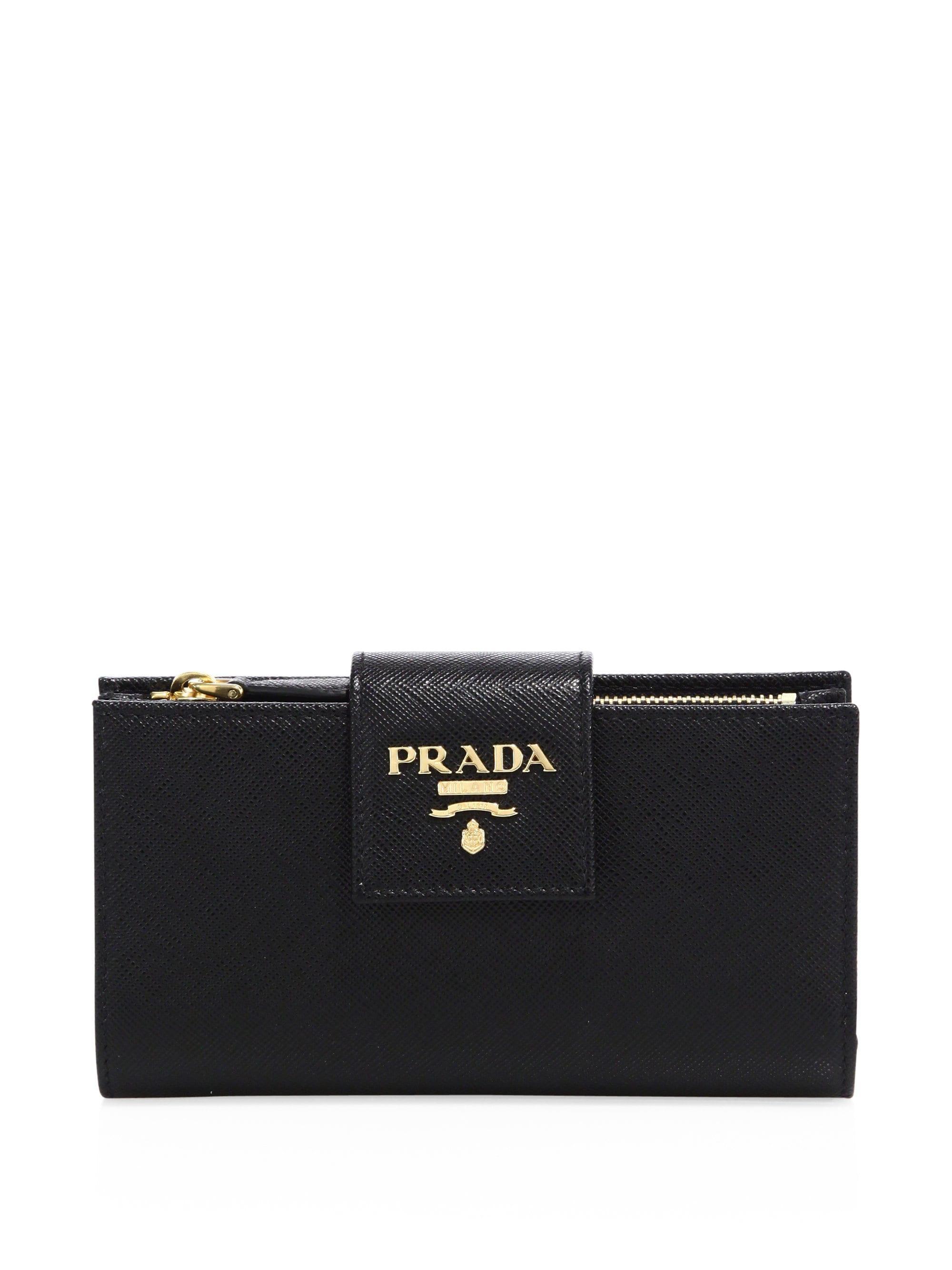 dcfefdc759af Lyst - Prada Women s Saffiano Leather Tab Wallet - Black in Black