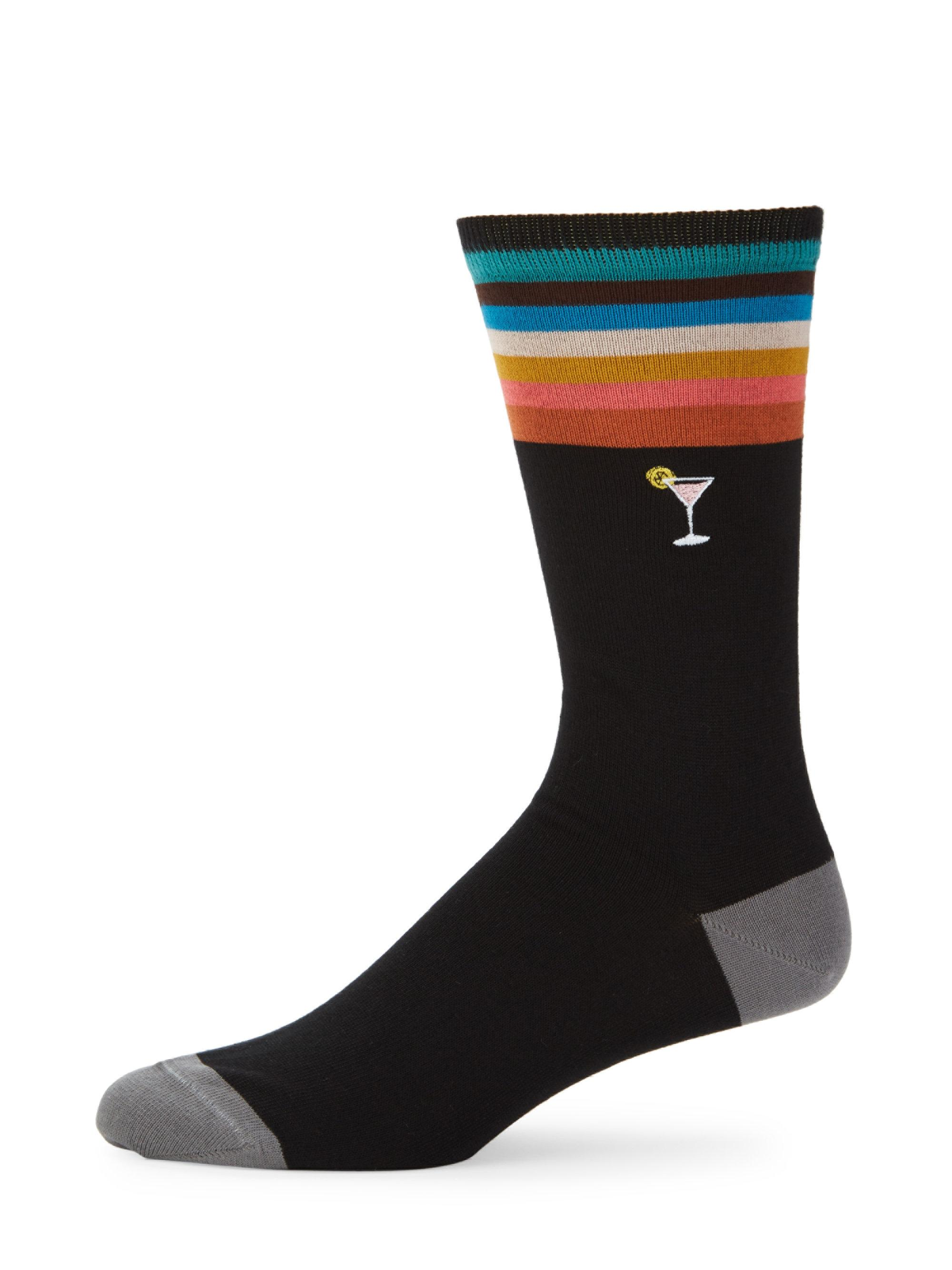 Paul Smith. Men's Black Embroidered Martini Socks