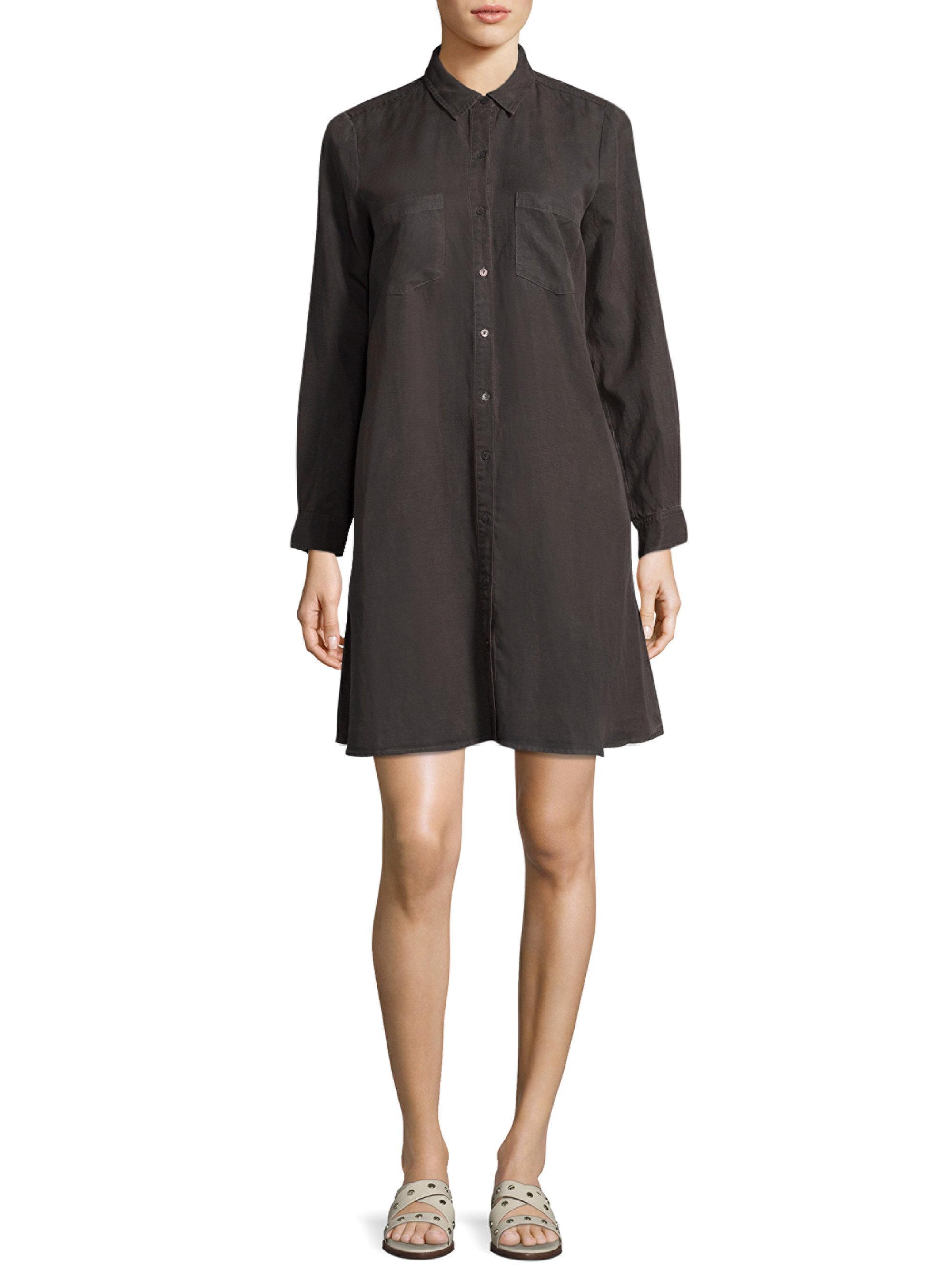 Eileen Fisher Linen Classic Collar Shirtdress In Black Lyst