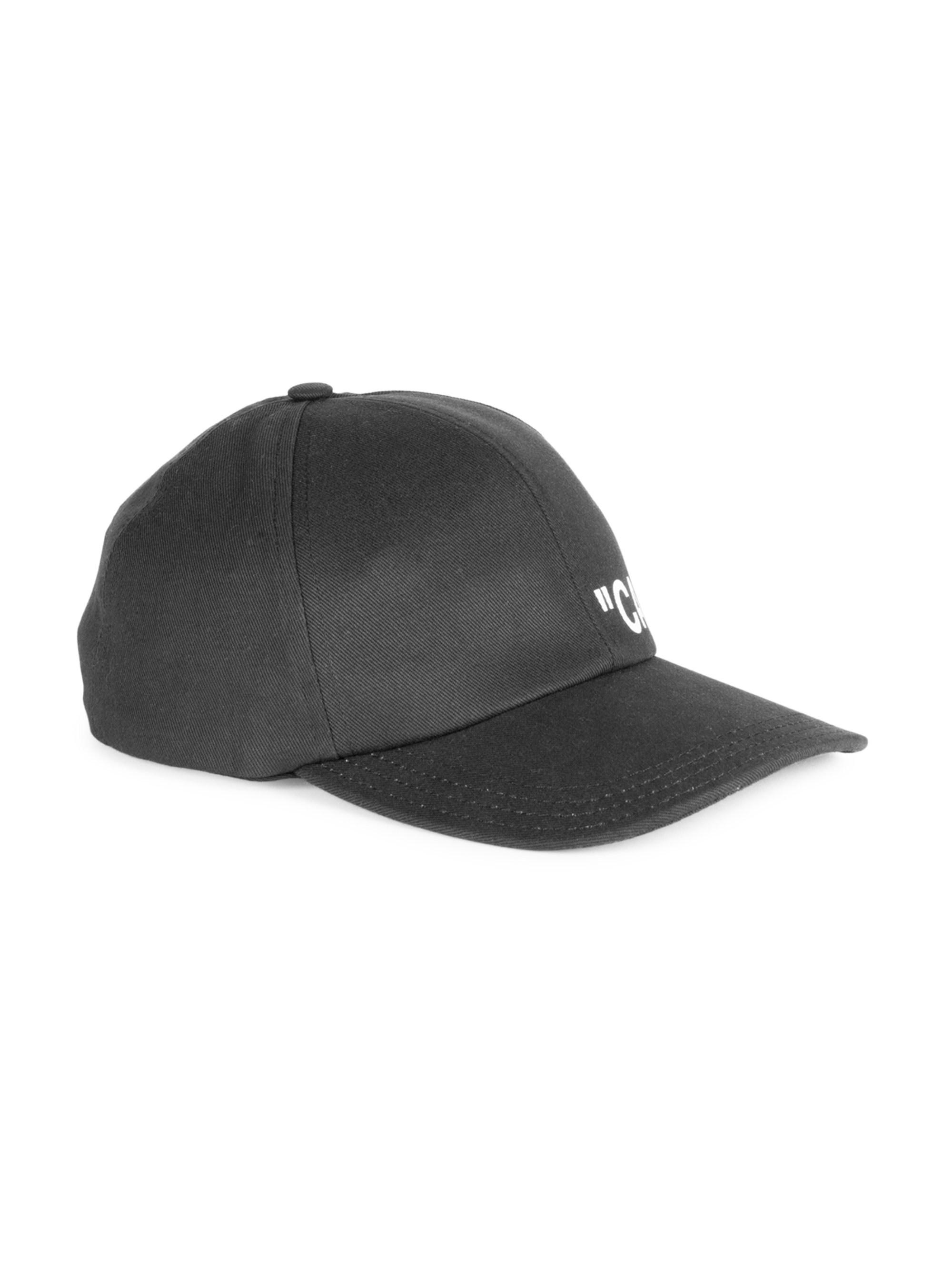 c11284445b6 Off-White c o Virgil Abloh Quote Cotton Baseball Cap in Black for Men - Lyst