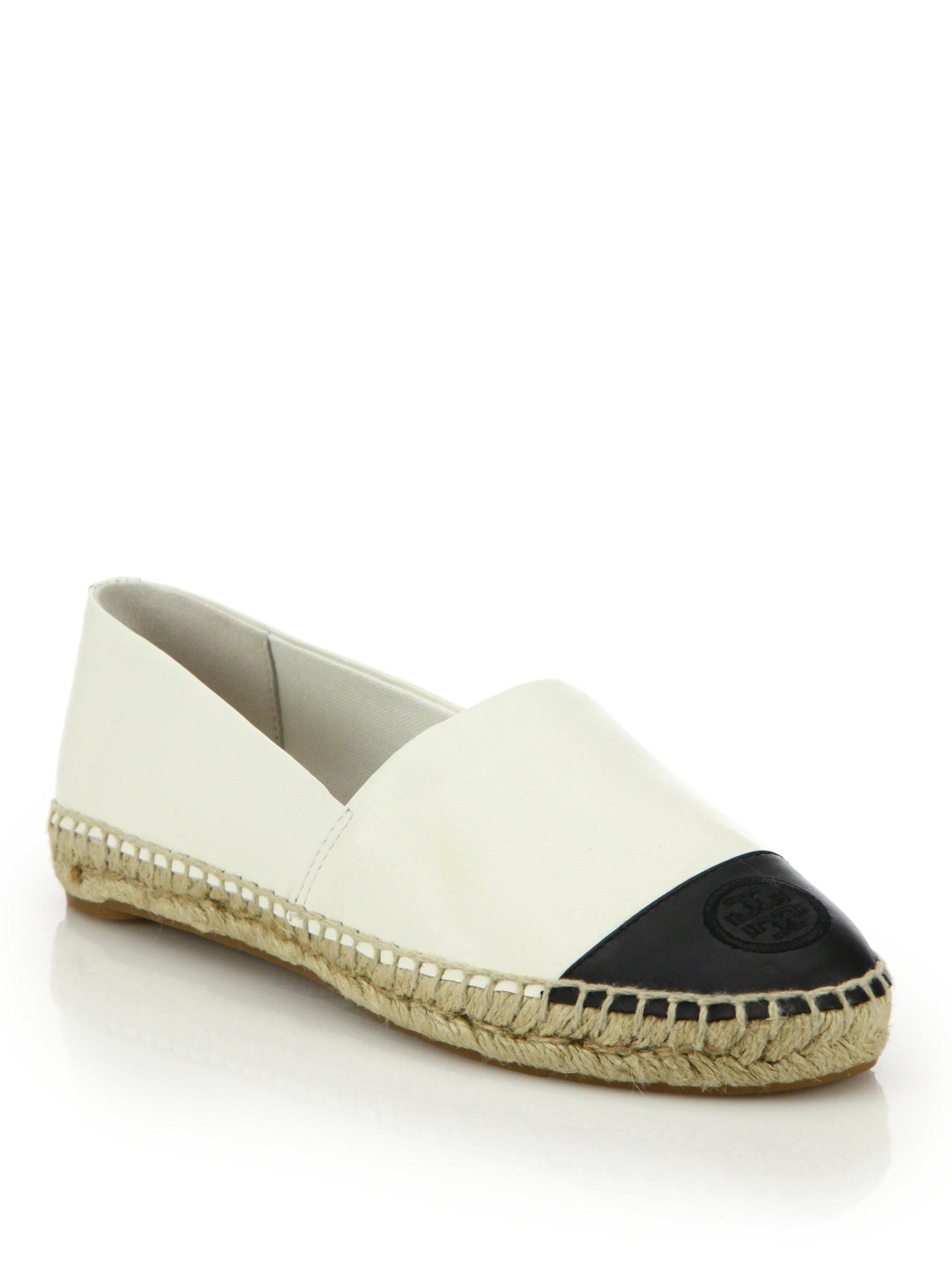 1e794198afe Lyst - Tory Burch Colorblock Leather Espadrille Flats in White