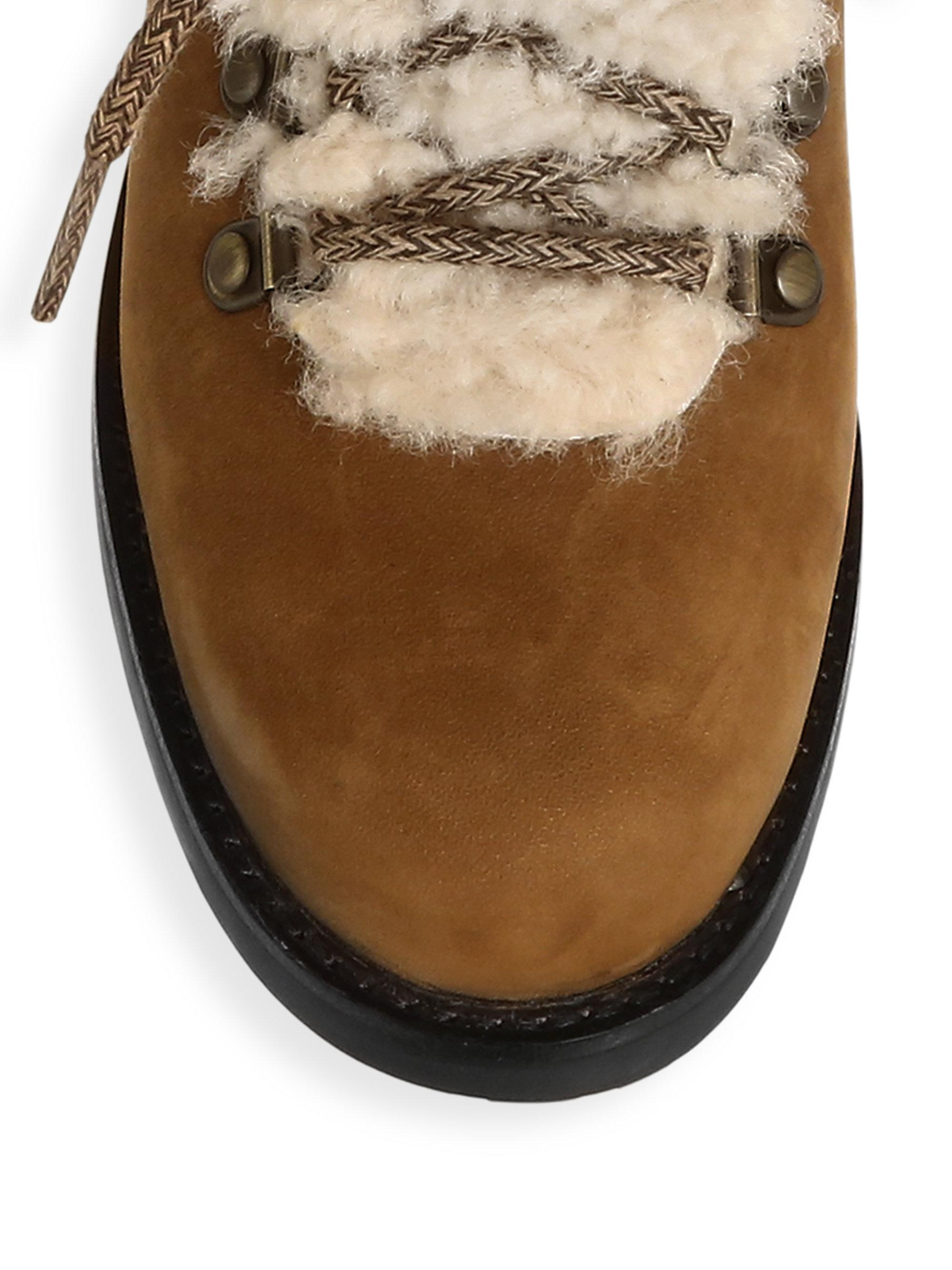 0a271a4e8b44 UGG Fraser Shearling   Suede Combat Booties in Brown - Lyst