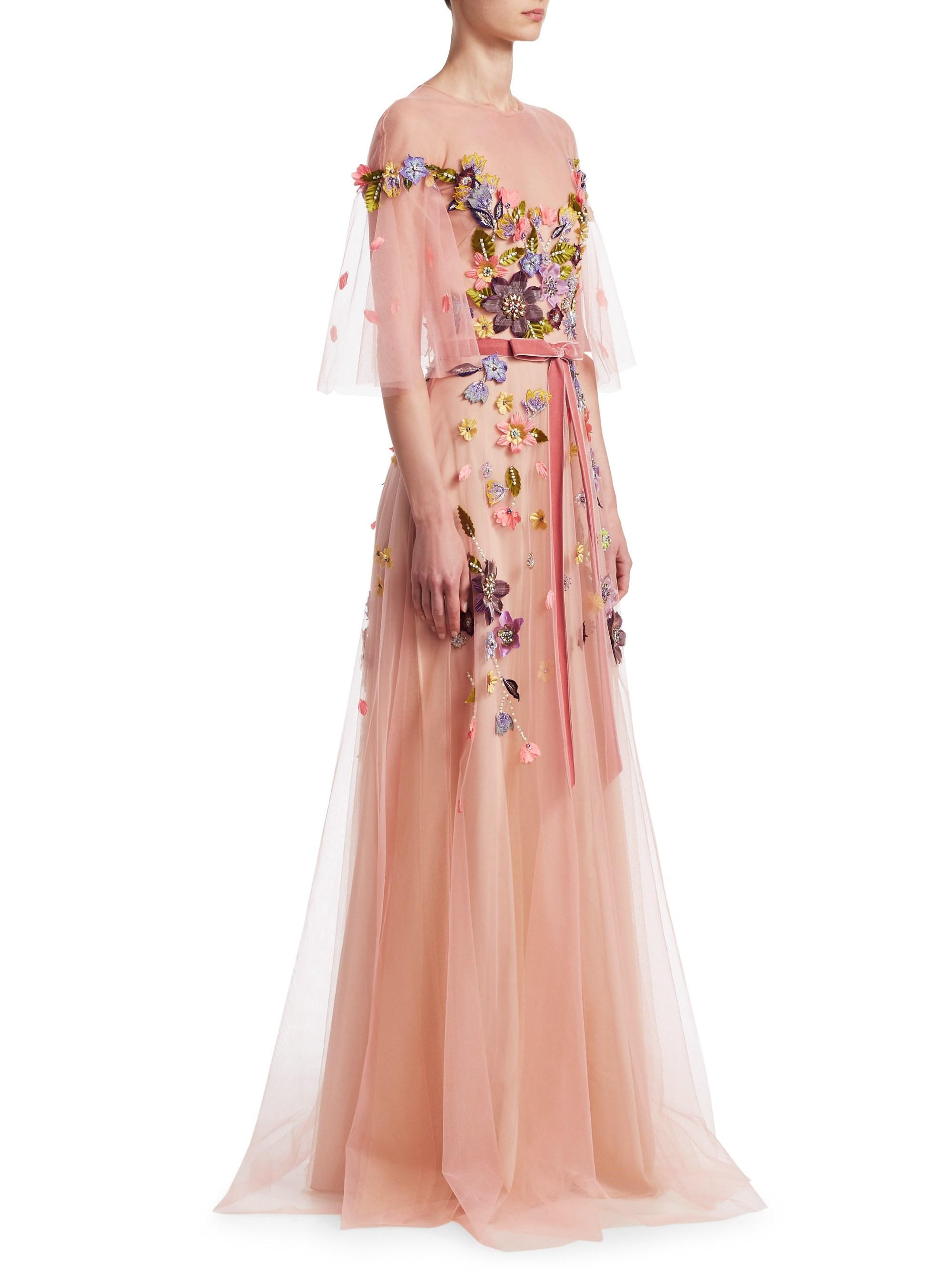 967824656e74 Marchesa notte Floral Belted Gown in Pink - Lyst