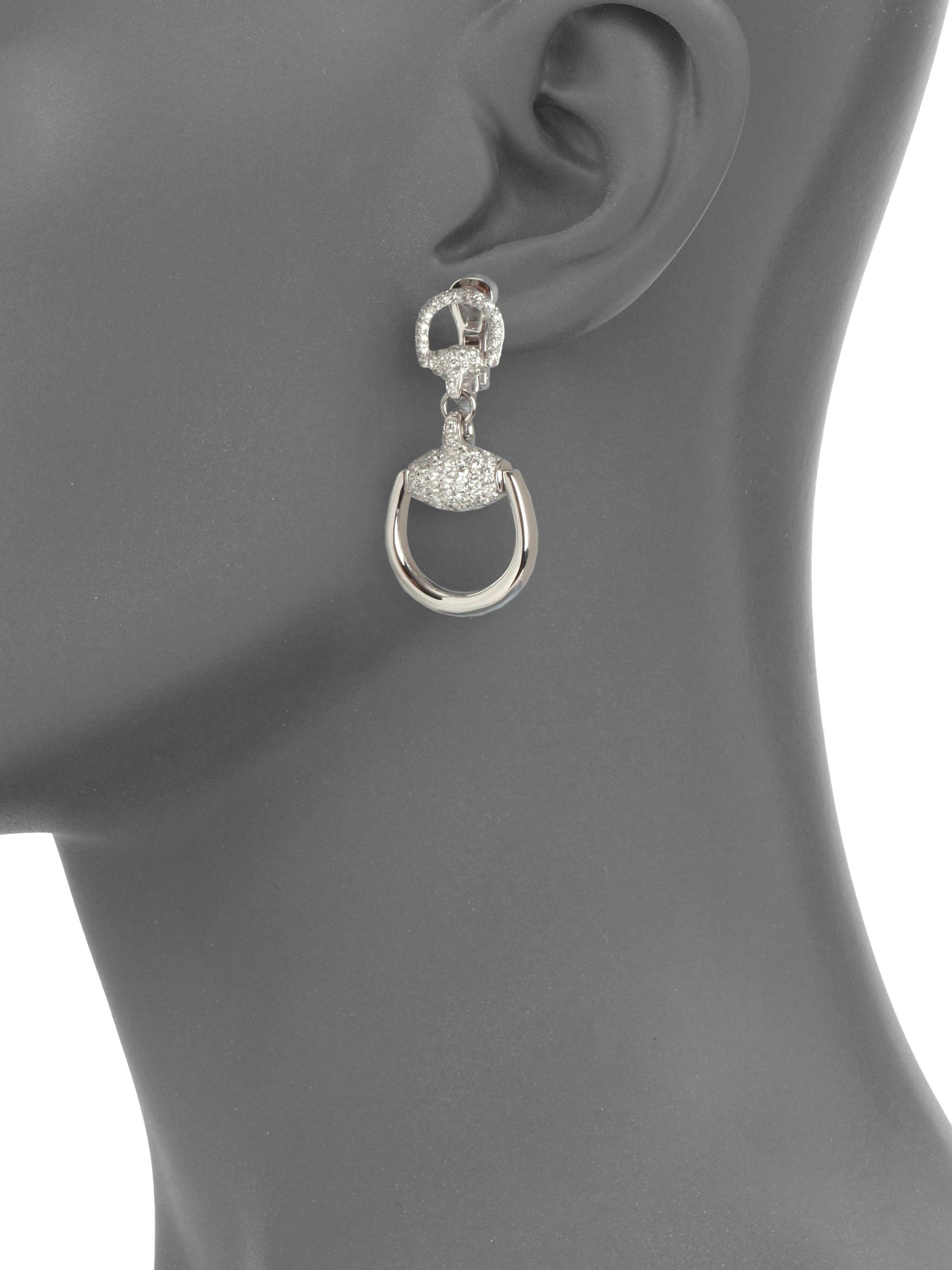 4a3dba4a7 Gucci - Metallic Horsebit Diamond & 18k White Gold Drop Earrings - Lyst.  View fullscreen