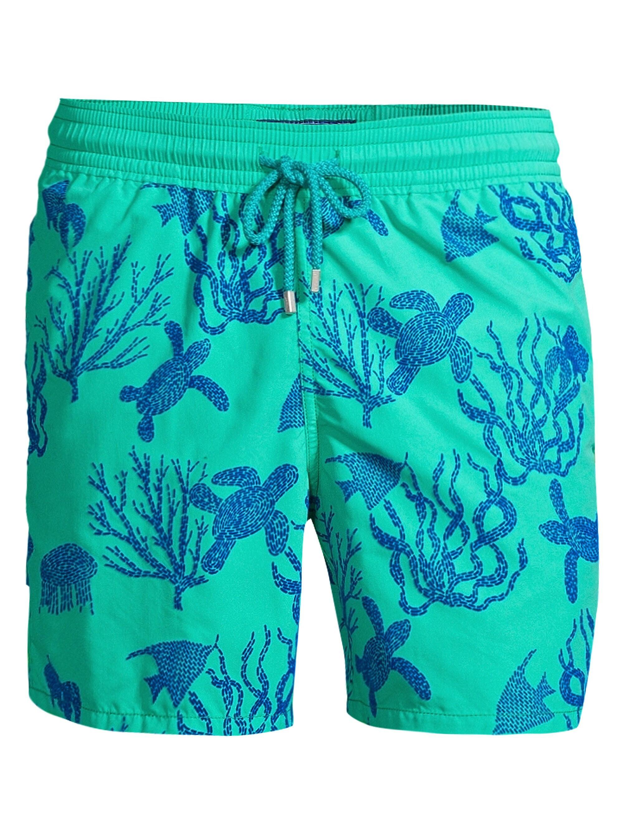 f4853c4a51 Vilebrequin Men's Coral Turtles Print Swim Shorts - Green in Green ...