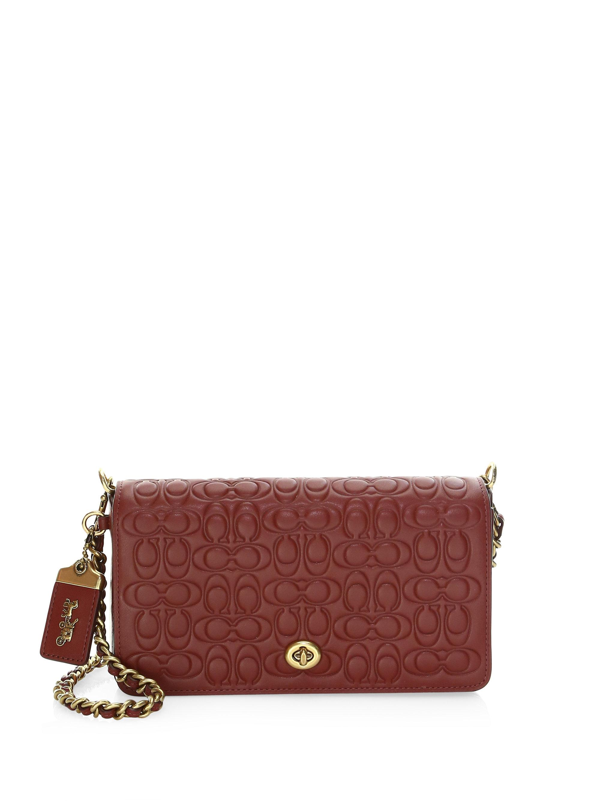 68c7d5f45824 COACH Signature Leather Dinky Crossbody Bag in Red - Lyst
