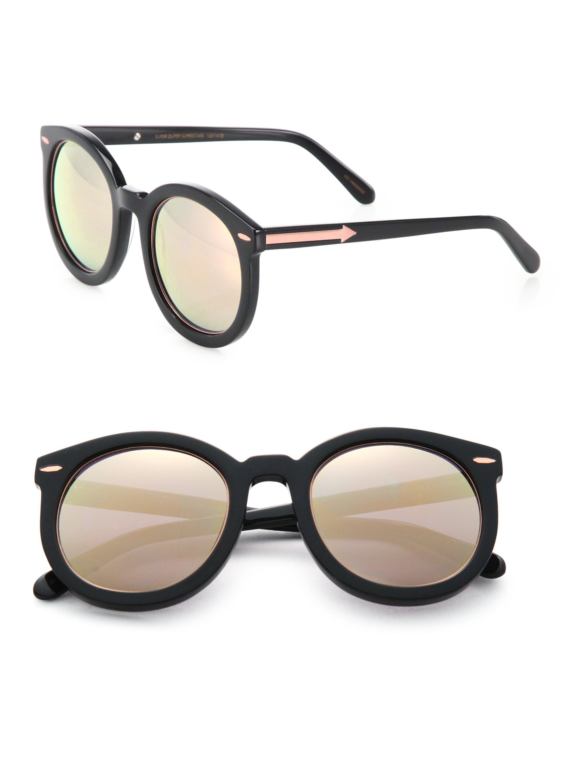 41945bcf143 Lyst - Karen Walker Super Duper Superstars 53mm Round Sunglasses in ...