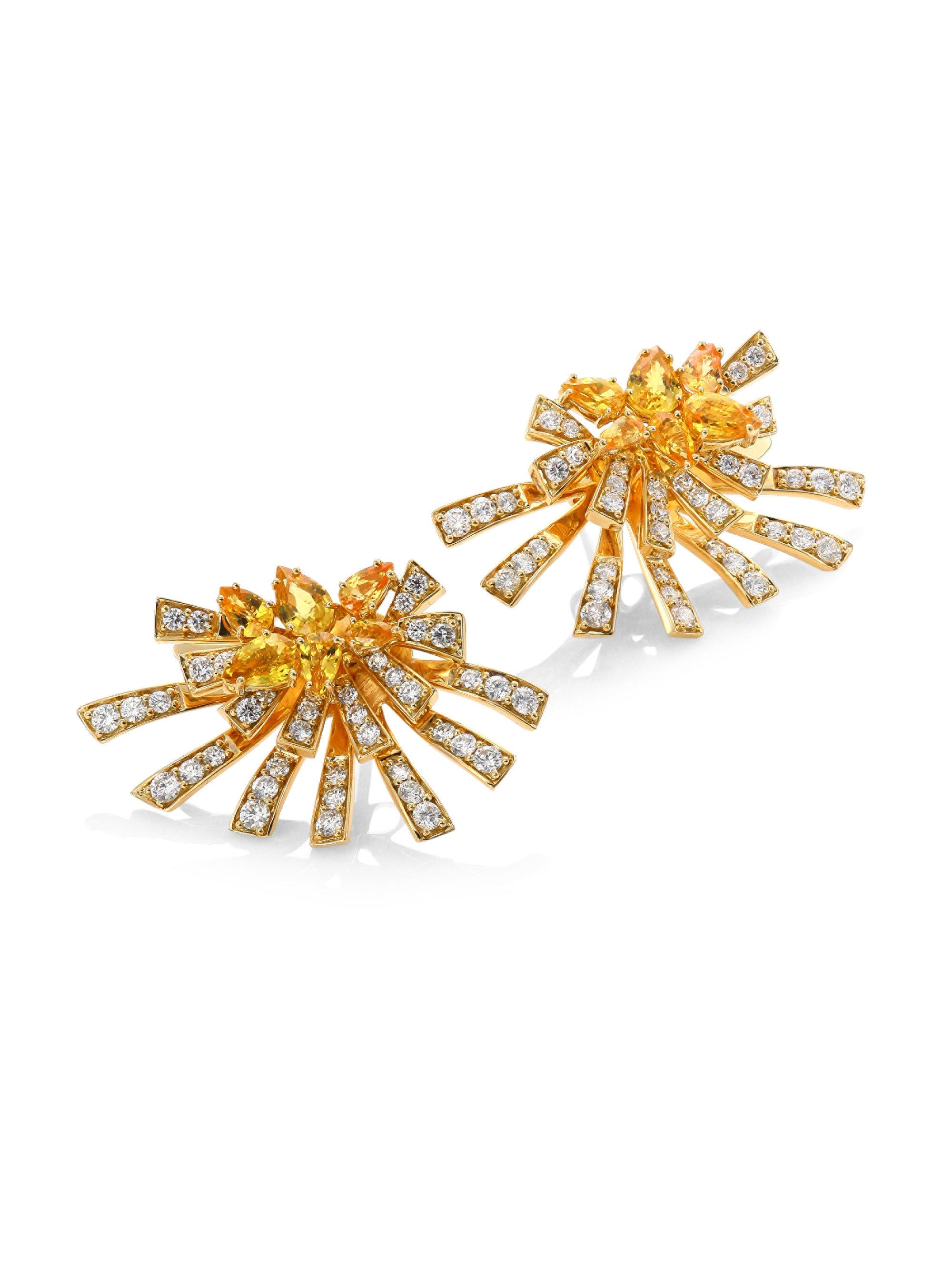 yellow elizabeth stud sapphire earrings jewellers oval white collections ceylon gold