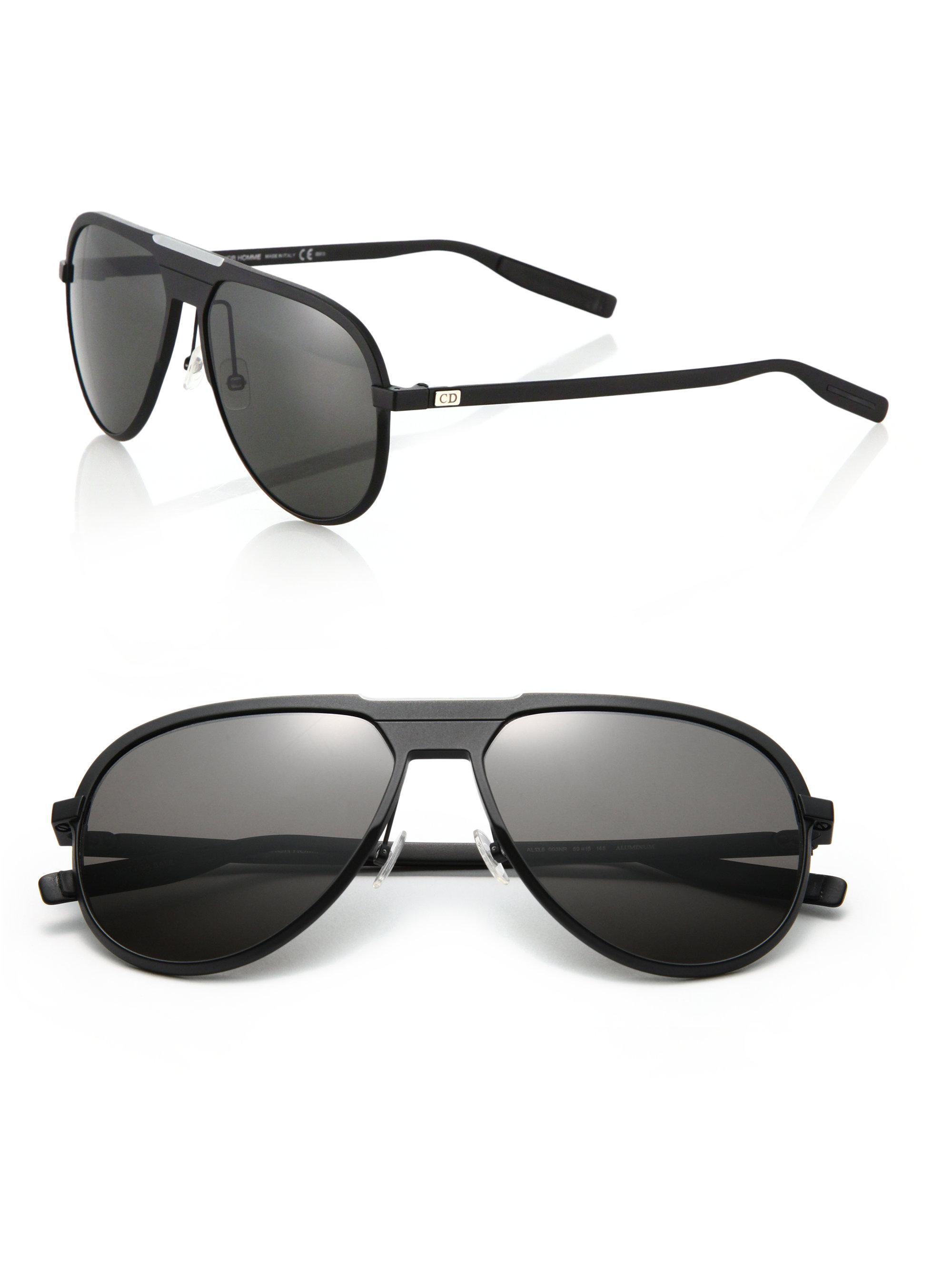 6b81a447fa4 Lyst - Dior Homme 136 s 59mm Mirror Aviator Sunglasses in Black for Men