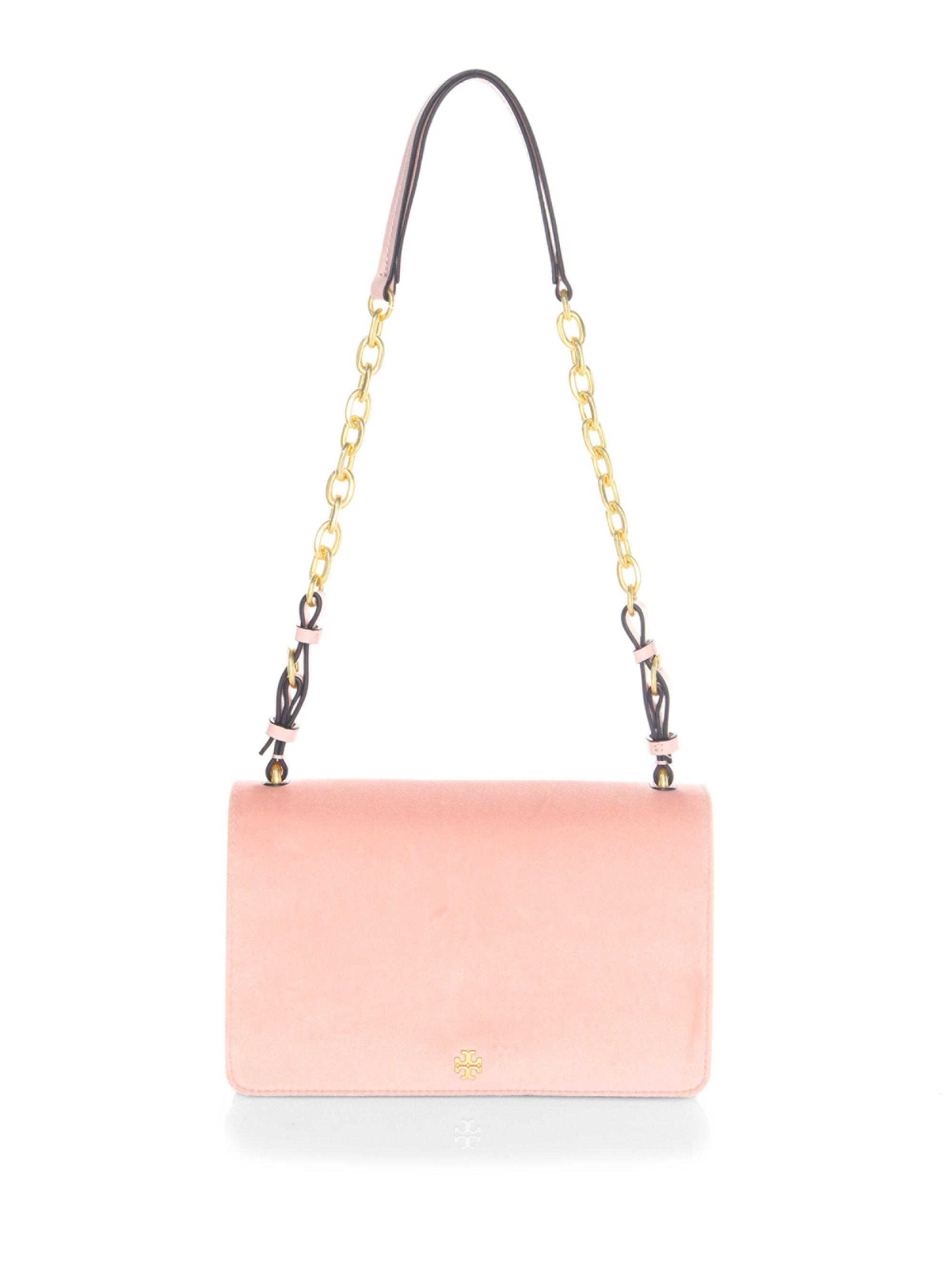 ec6eb75d777 Lyst - Tory Burch Sadie Velvet Shoulder Bag in Pink