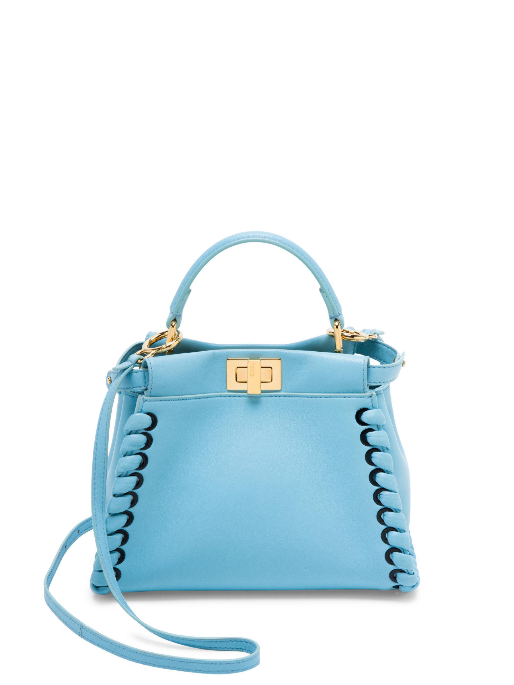 ec1ba413f2 Lyst - Fendi Mini Peekaboo Whipstitch Leather Satchel in Blue