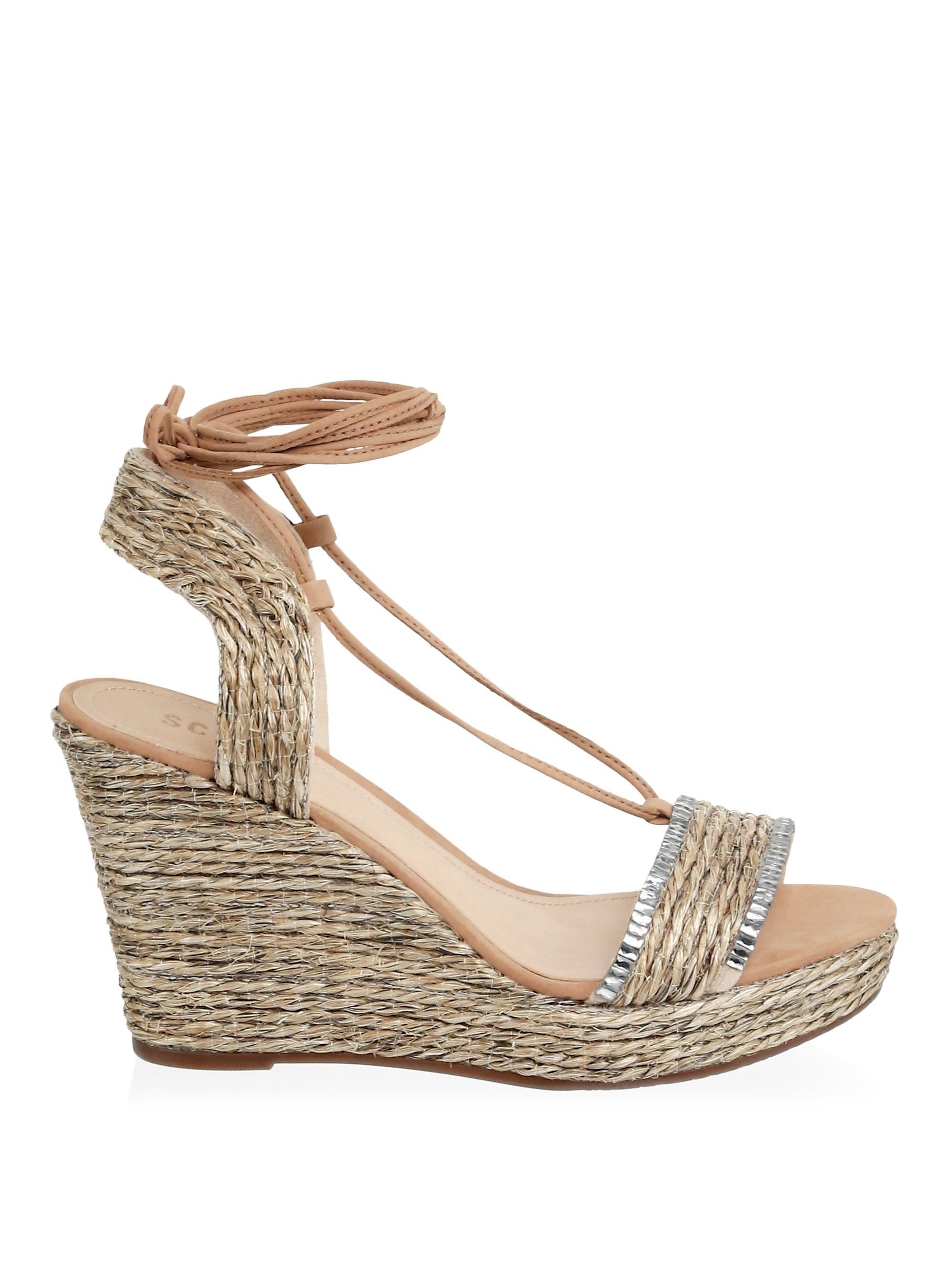 582c9f7e606 Lyst - Schutz Women s Vivian Wedge Sandals - Natural - Size 5.5 in ...