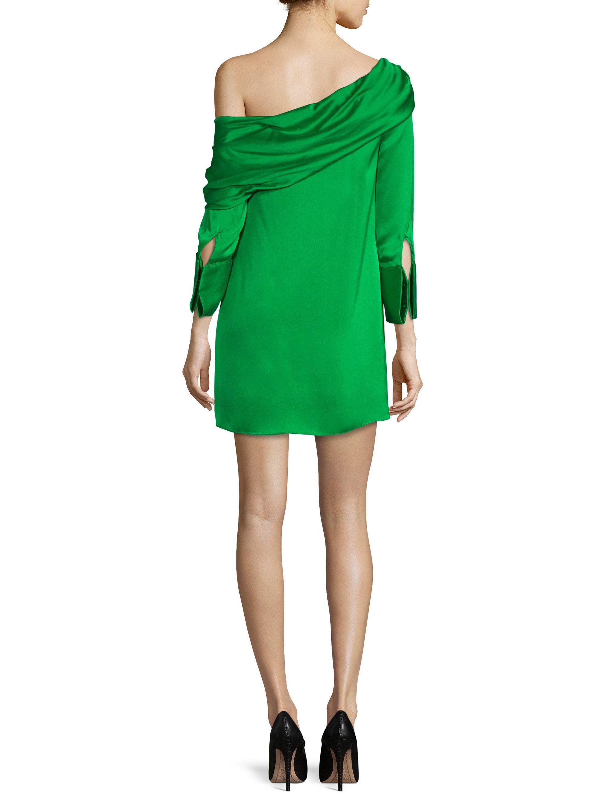 Lyst Alice Olivia Serina One Shoulder Shift Dress In Green