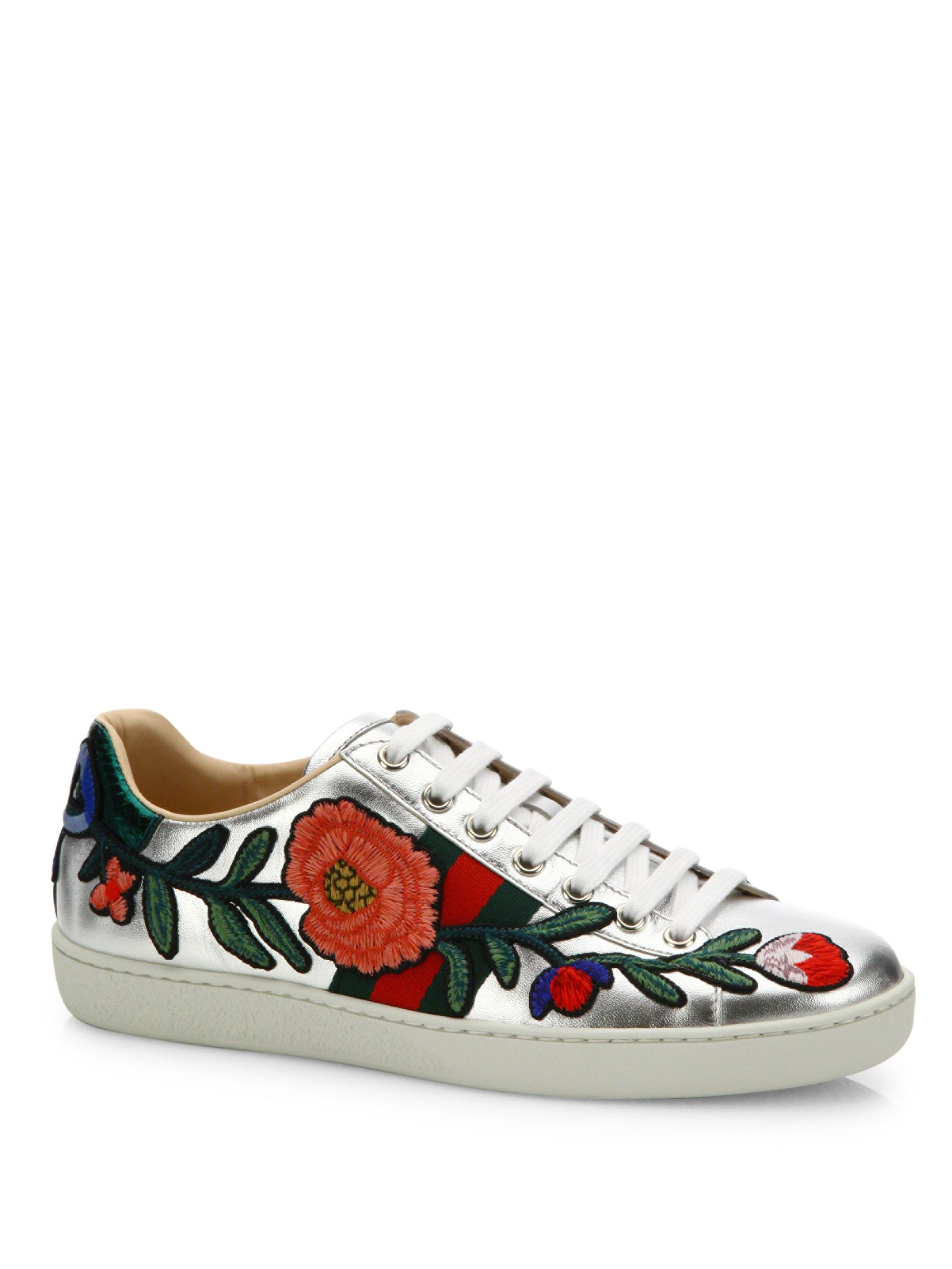 5d4f36b61 Gucci New Ace Floral-embroidered Metallic Leather Sneakers in ...