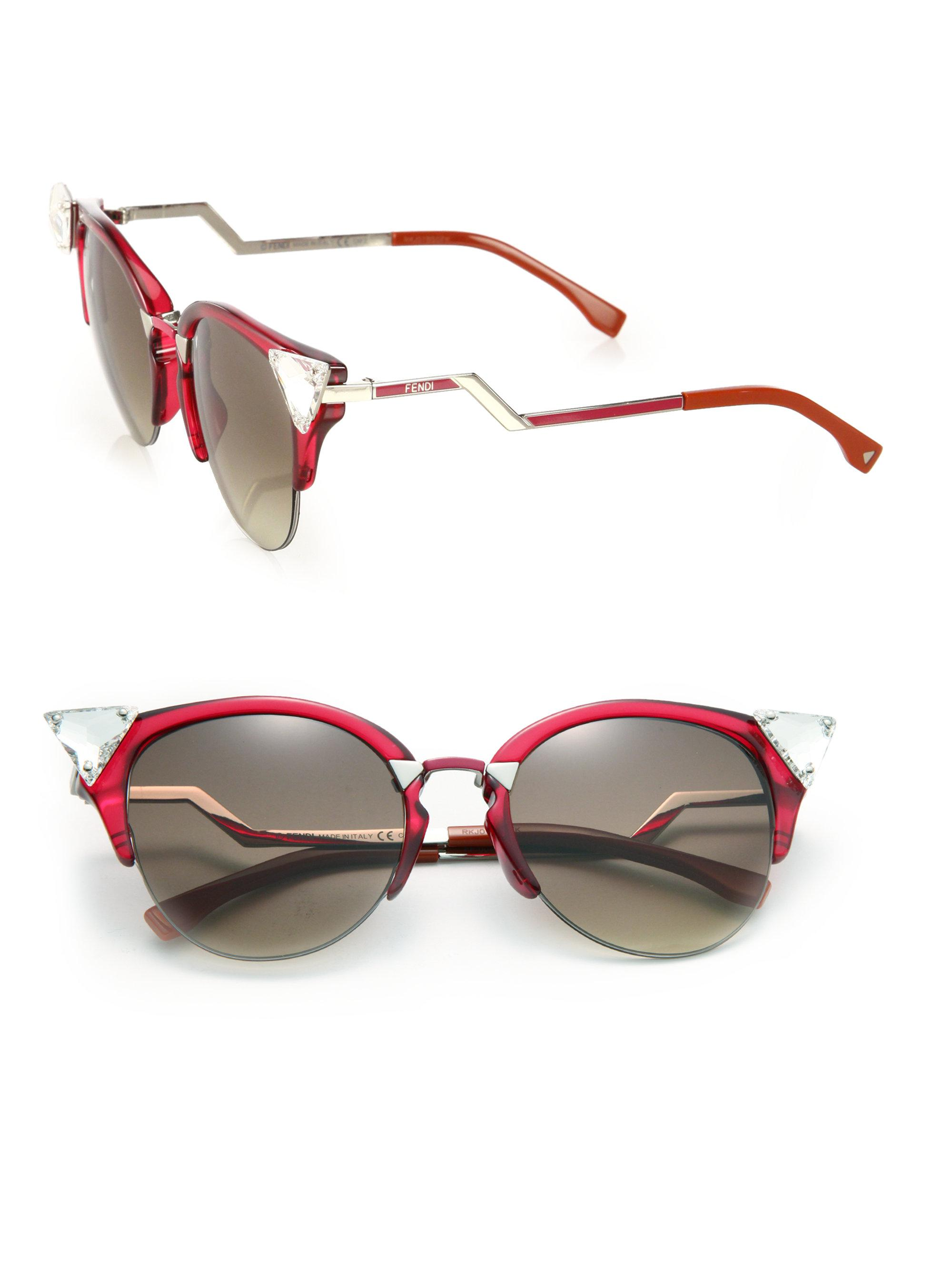 0e8ae4825c2 Lyst - Fendi Edged Zig-zag Optyl Cat s-eye Sunglasses in Red