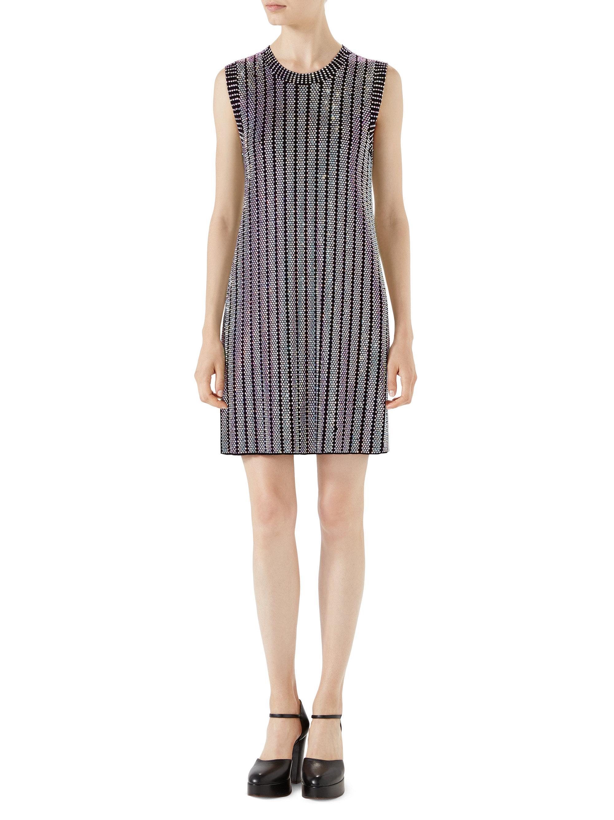 fb7c7c25f Gucci Crystal-embellished Sleeveless Shift Dress in Black - Lyst
